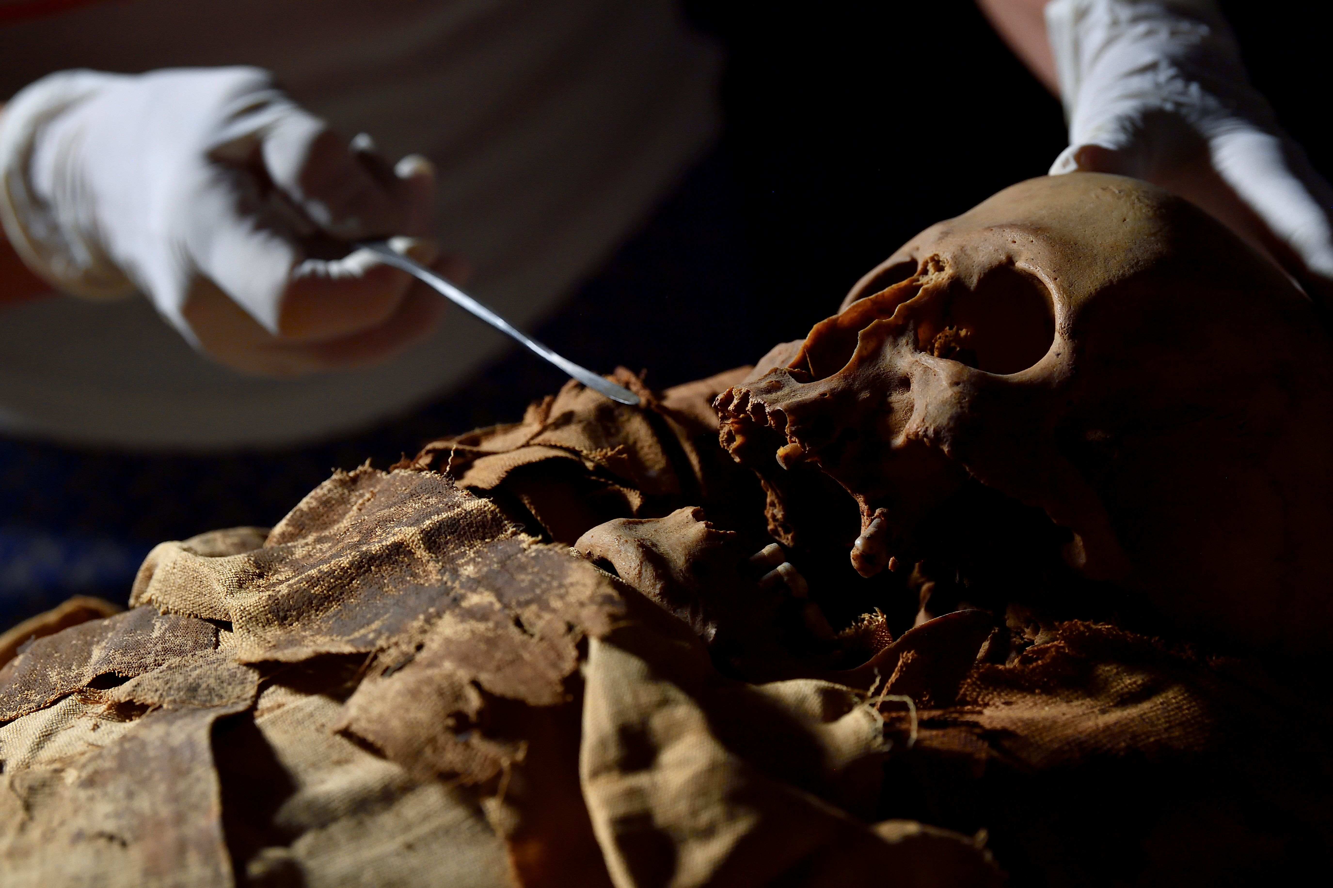 A researcher prepares to move an Egyptian mummy from the Civic Archaeological Museum of Bergamo to Milan's Policlinico hospital to undergo a CT scan in order to investigate its history, in Bergamo, Italy, June 21, 2021. REUTERS/Flavio Lo Scalzo