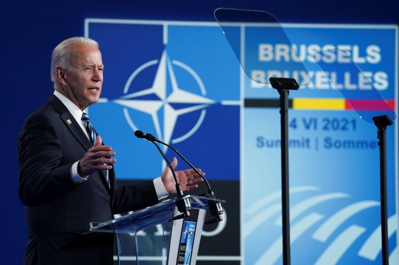 U.S. President Joe Biden holds a news conference at the end of the NATO summit in Brussels, Belgium June 14, 2021. REUTERS/Kevin Lamarque