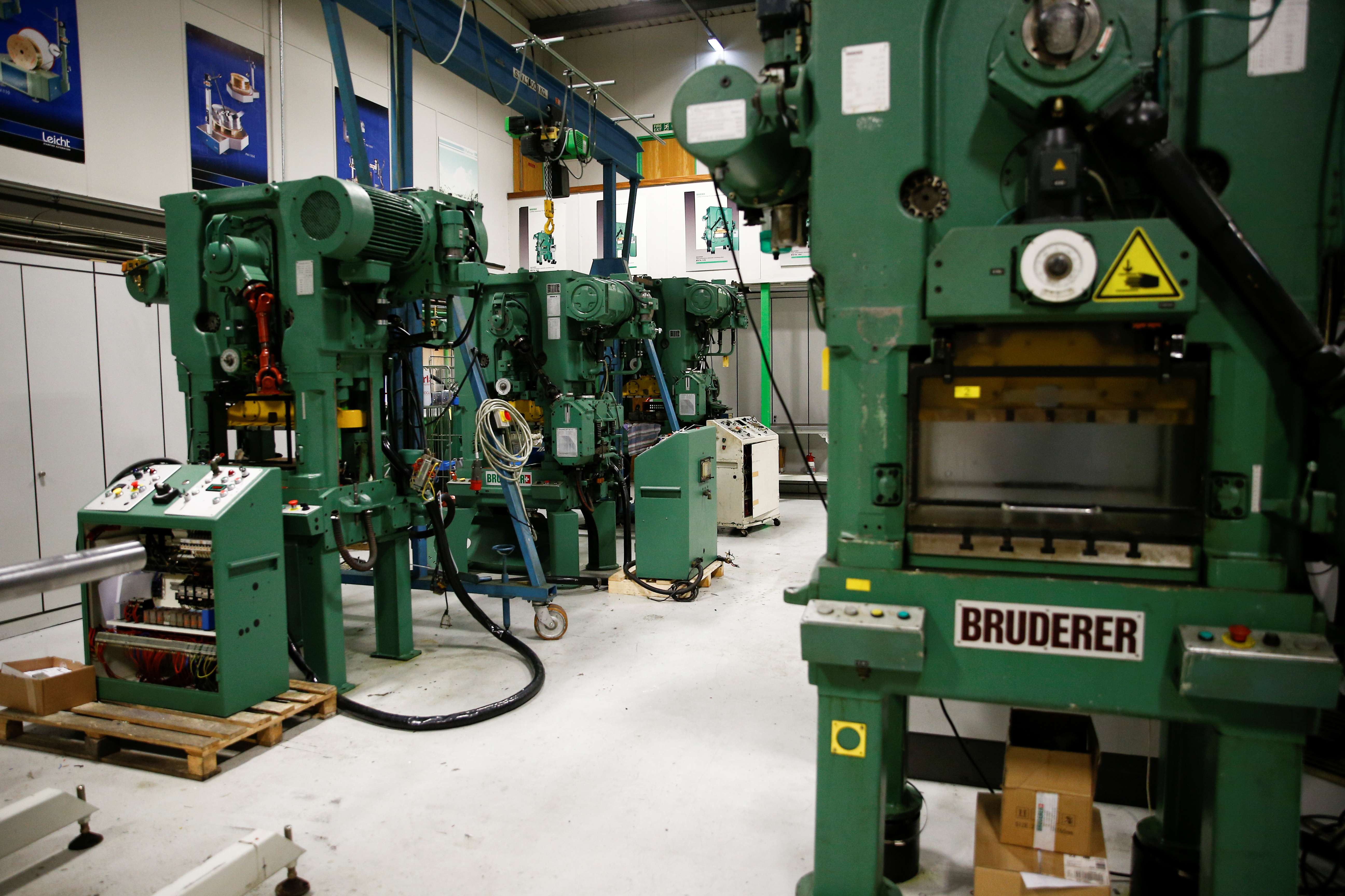 Machines produced by Bruderer Uk Ltd are seen inside the company's factory in Luton, Britain, January 24, 2020. Picture taken January 24, 2020. REUTERS/Henry Nicholls