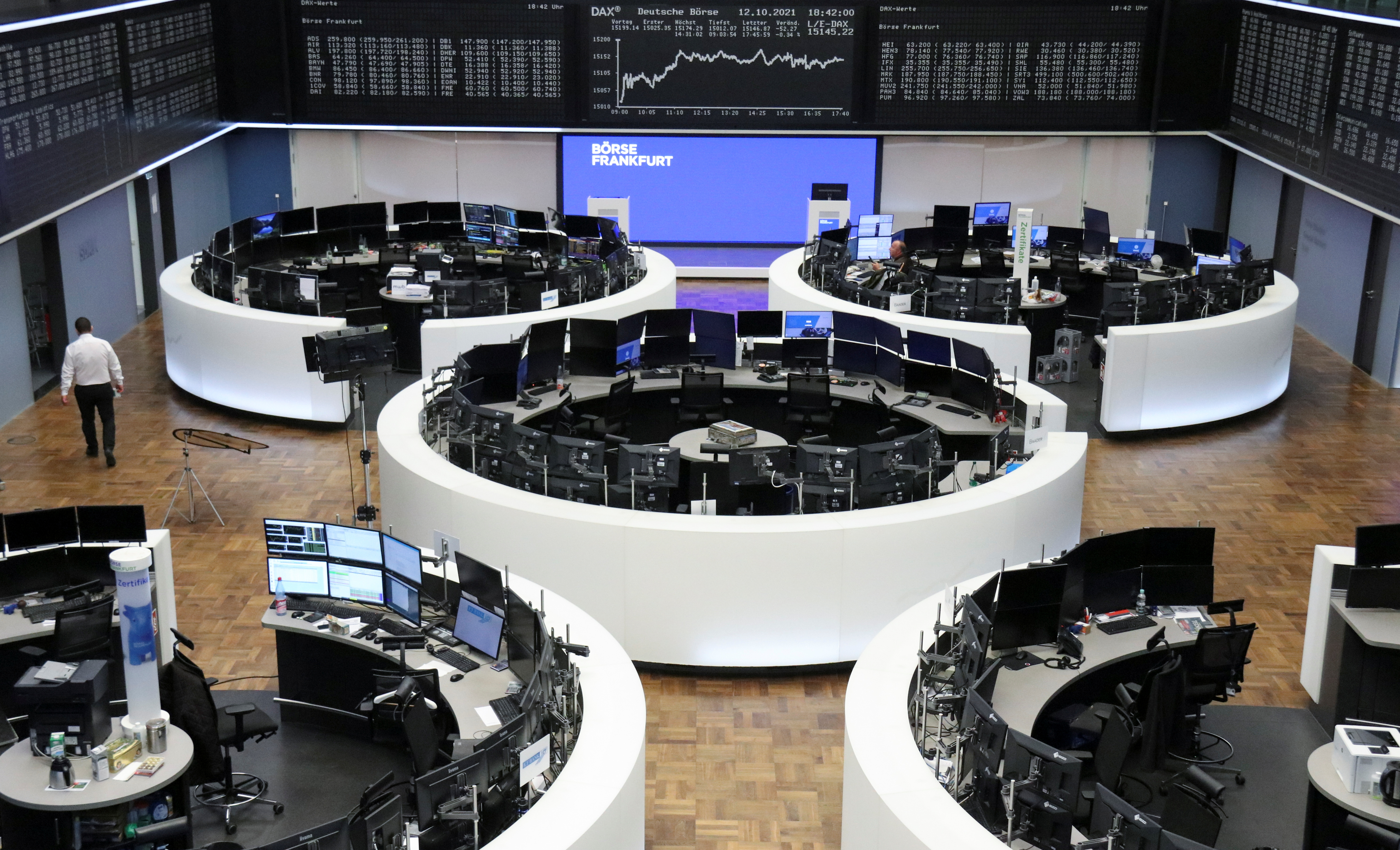 The German share price index DAX graph is pictured at the stock exchange in Frankfurt, Germany, October 12, 2021. REUTERS/Staff