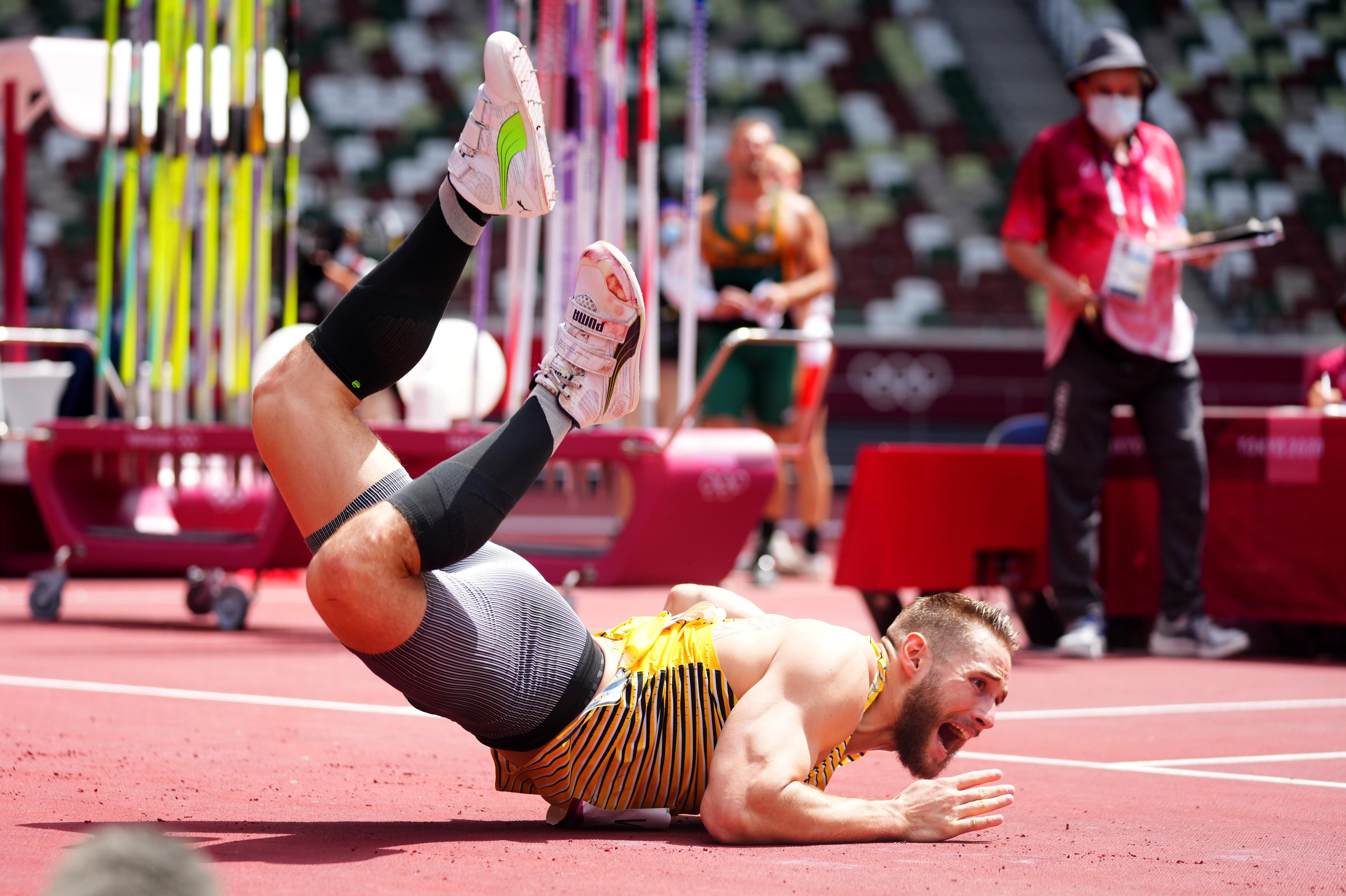 Tokyo 2020 Olympics - Athletics - Men's Javelin Throw - Qualification - Olympic Stadium, Tokyo, Japan - August 4, 2021. Johannes Vetter of Germany  reacts REUTERS/Aleksandra Szmigiel - SP1EH84054TU5