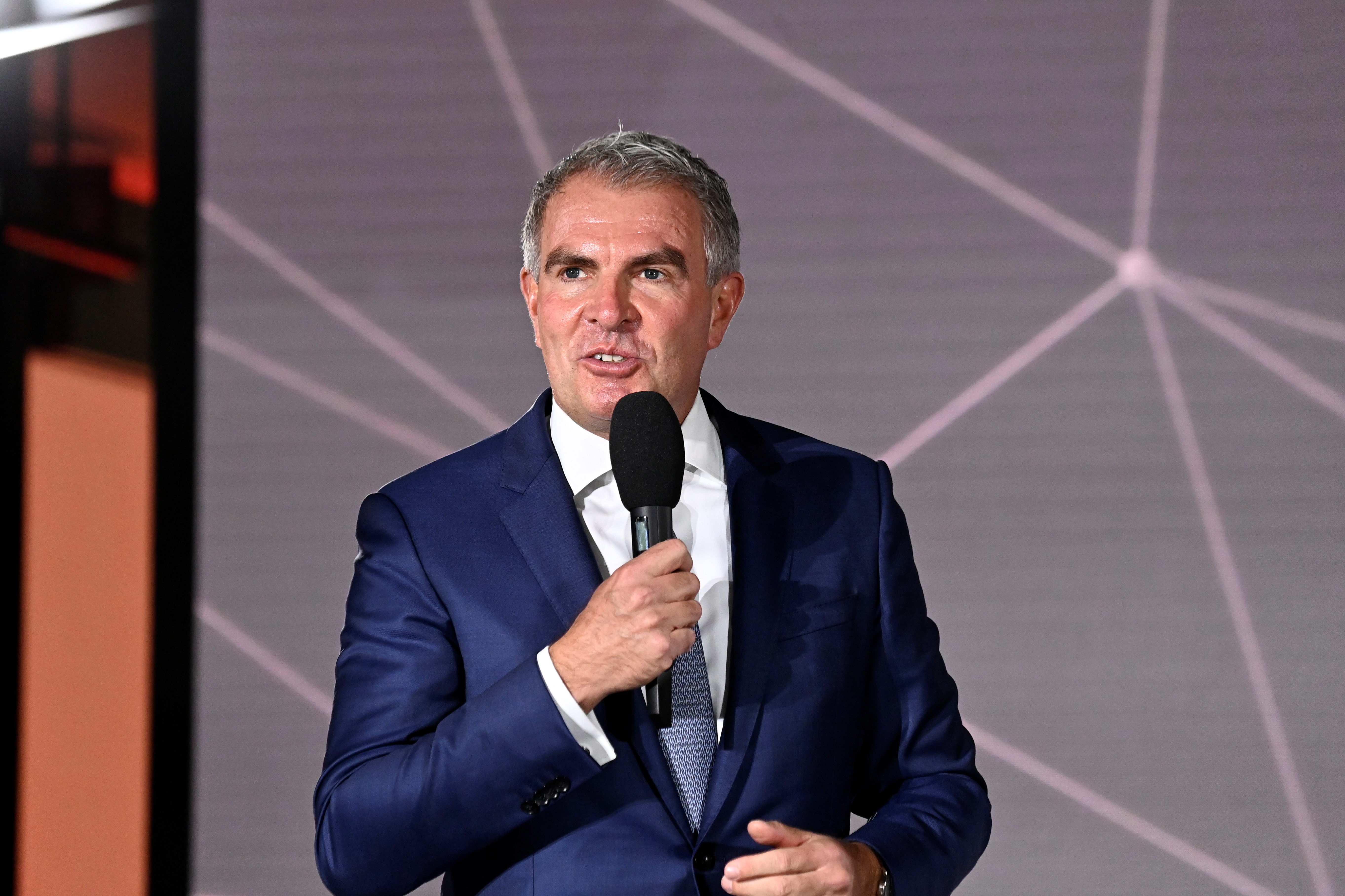 CEO of Lufthansa, Carsten Spohr, delivers a speech during the opening ceremony of the new Berlin-Brandenburg Airport (BER)