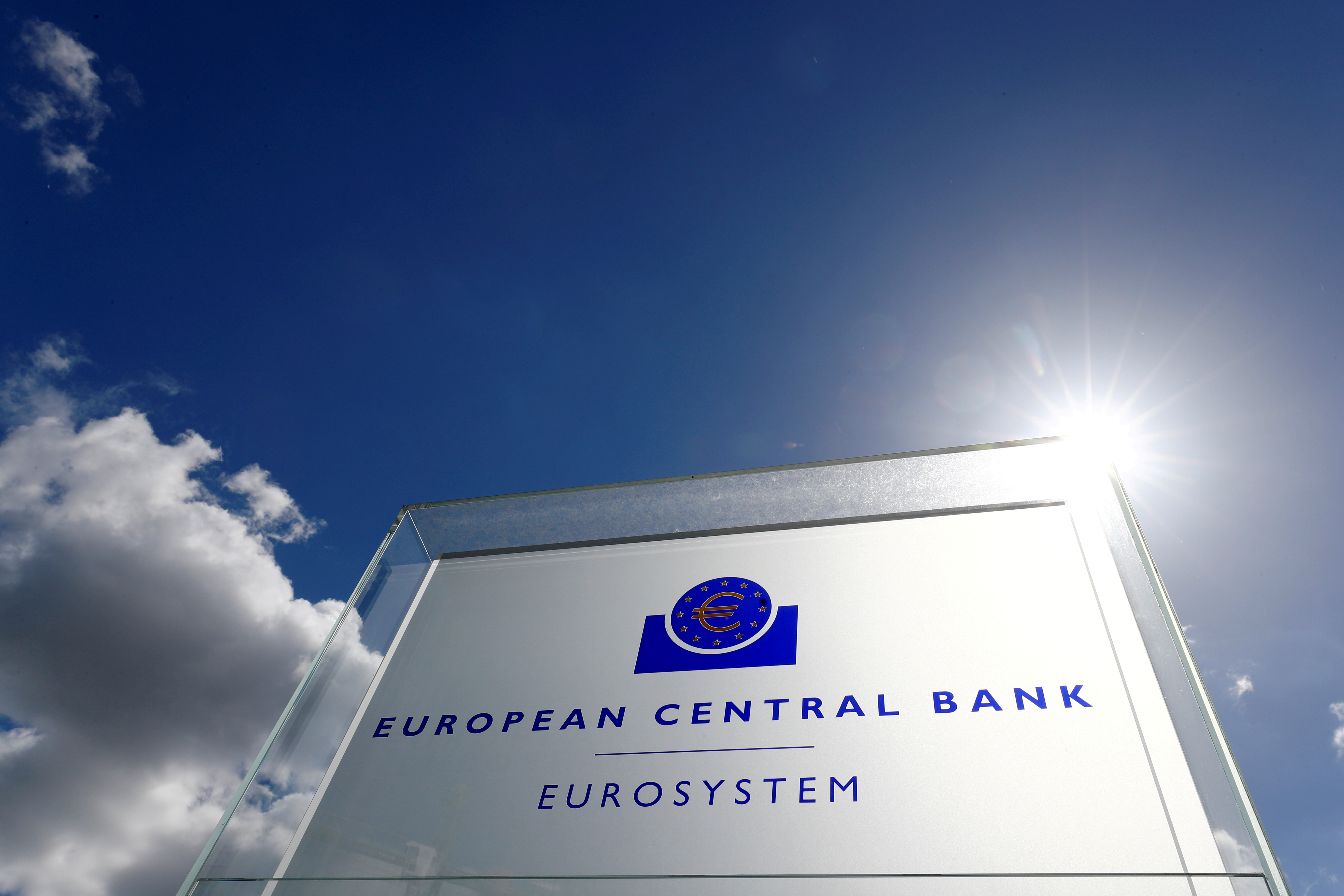 The logo of the European Central Bank (ECB) is pictured outside its headquarters in Frankfurt, Germany, April 26, 2018. REUTERS/Kai Pfaffenbach///File Photo