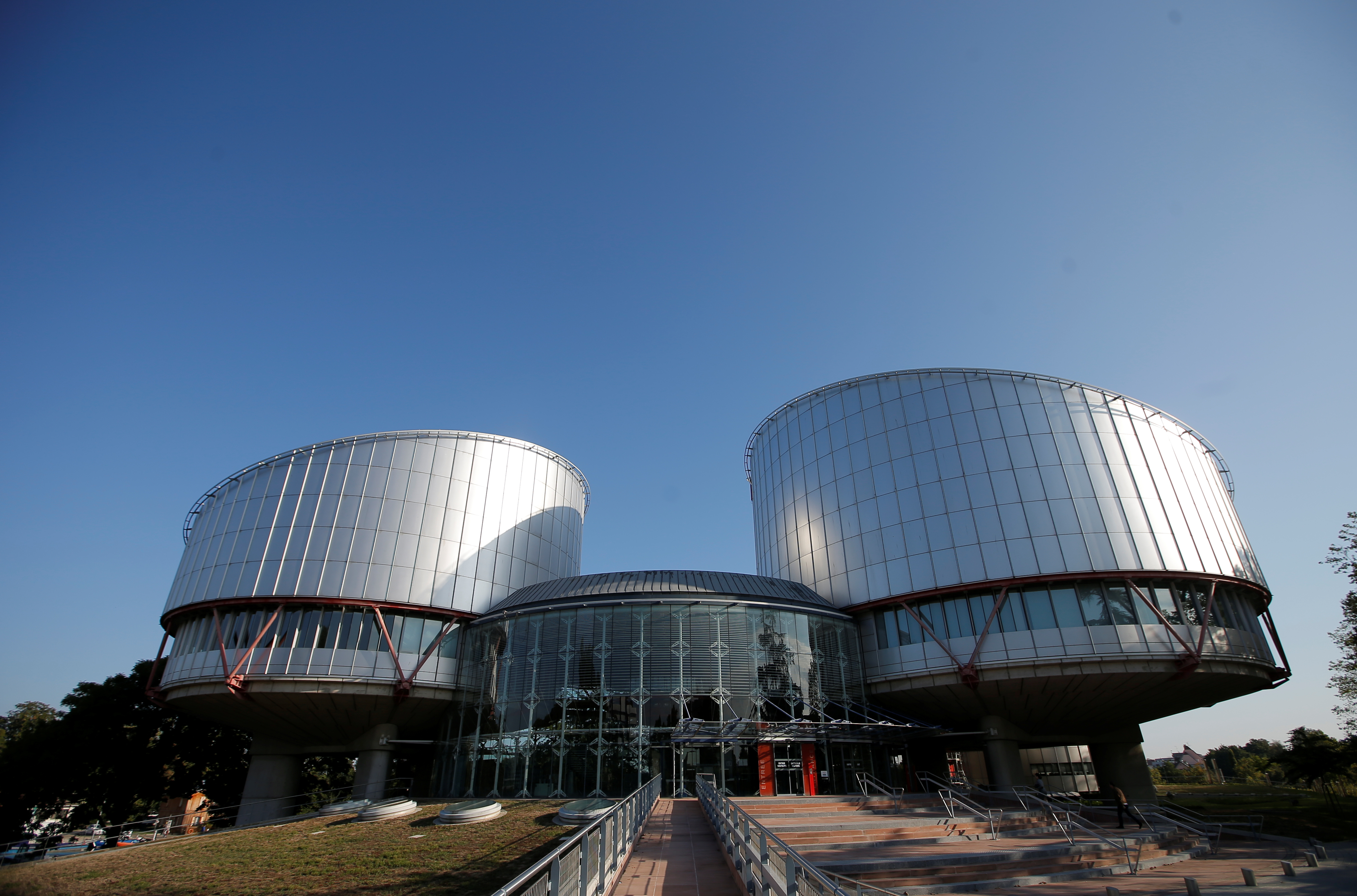 The building of the European Court of Human Rights is seen ahead of the start of a hearing concerning Ukraine's lawsuit against Russia regarding human rights violations in Crimea, in Strasbourg, France, September 11, 2019.  REUTERS/Vincent Kessler