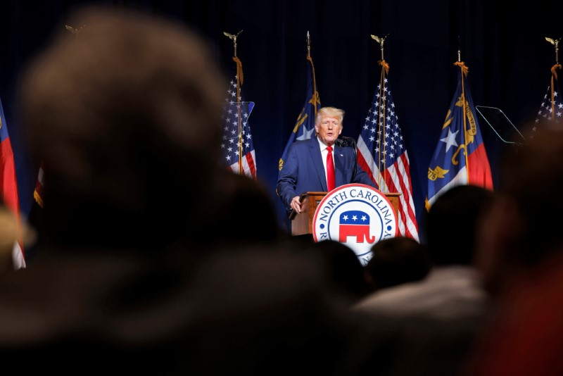 Former U.S. President Donald Trump speaks at the North Carolina GOP convention dinner in Greenville, North Carolina, U.S. June 5, 2021. REUTERS/Jonathan Drake