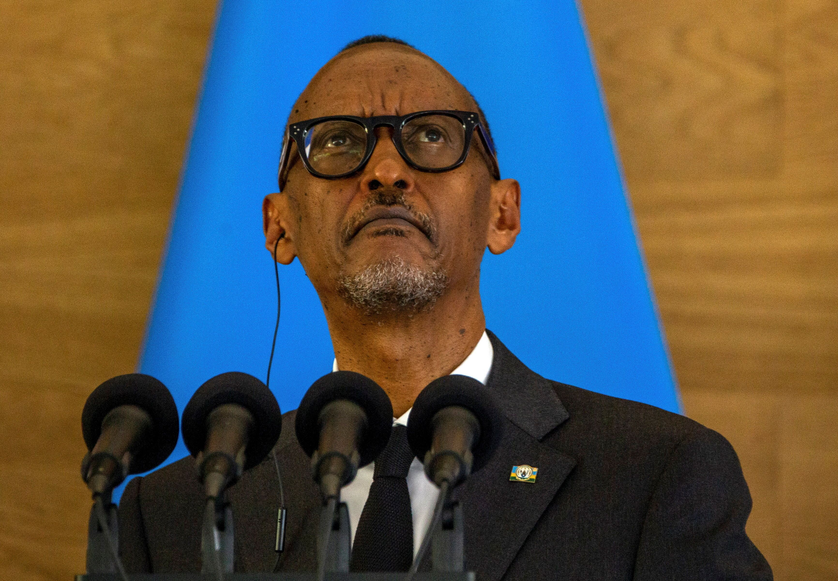Rwandan President Paul Kagame looks on as he attends a joint news conference with French President Emmanuel Macron at the Presidential Palace in Kigali, Rwanda May 27, 2021. REUTERS/Jean Bizimana
