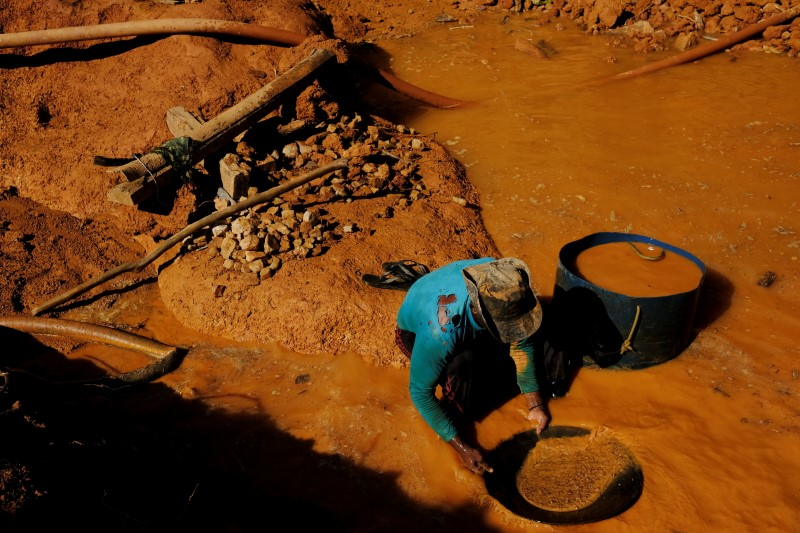 A wildcat gold miner, or garimpeiro, uses a basin and mercury to pan for gold at a wildcat gold mine, also known as a garimpo, at a deforested area of the Amazon rainforest near Crepurizao, in the municipality of Itaituba, Para State, Brazil, August 5, 2017. REUTERS/Nacho Doce/File Photo