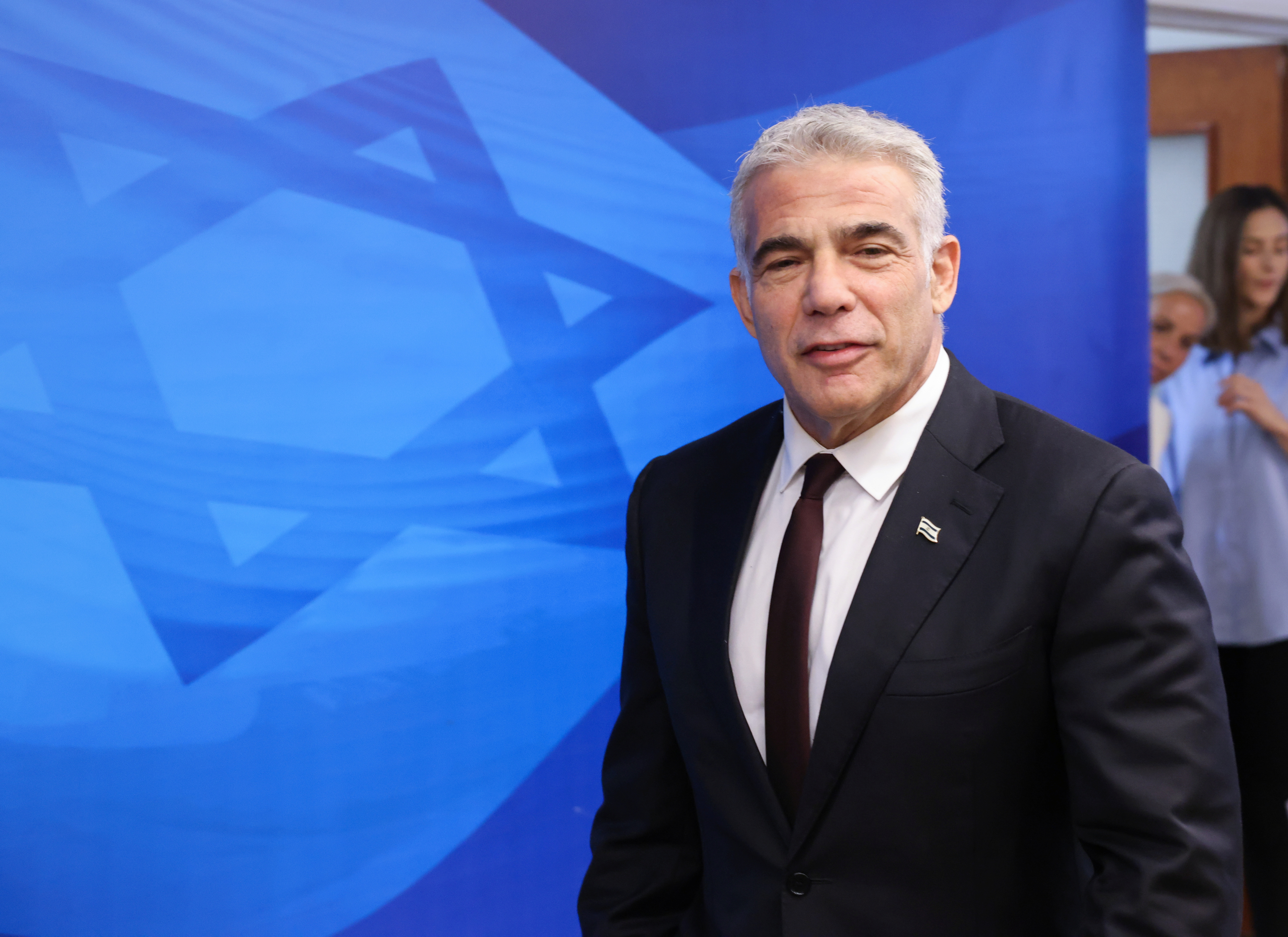 Israeli alternate Prime Minister and Foreign Minister Yair Lapid arrives to attend the first weekly cabinet meeting of the new government in Jerusalem June 20, 2021. Emmanuel Dunand/Pool via REUTERS