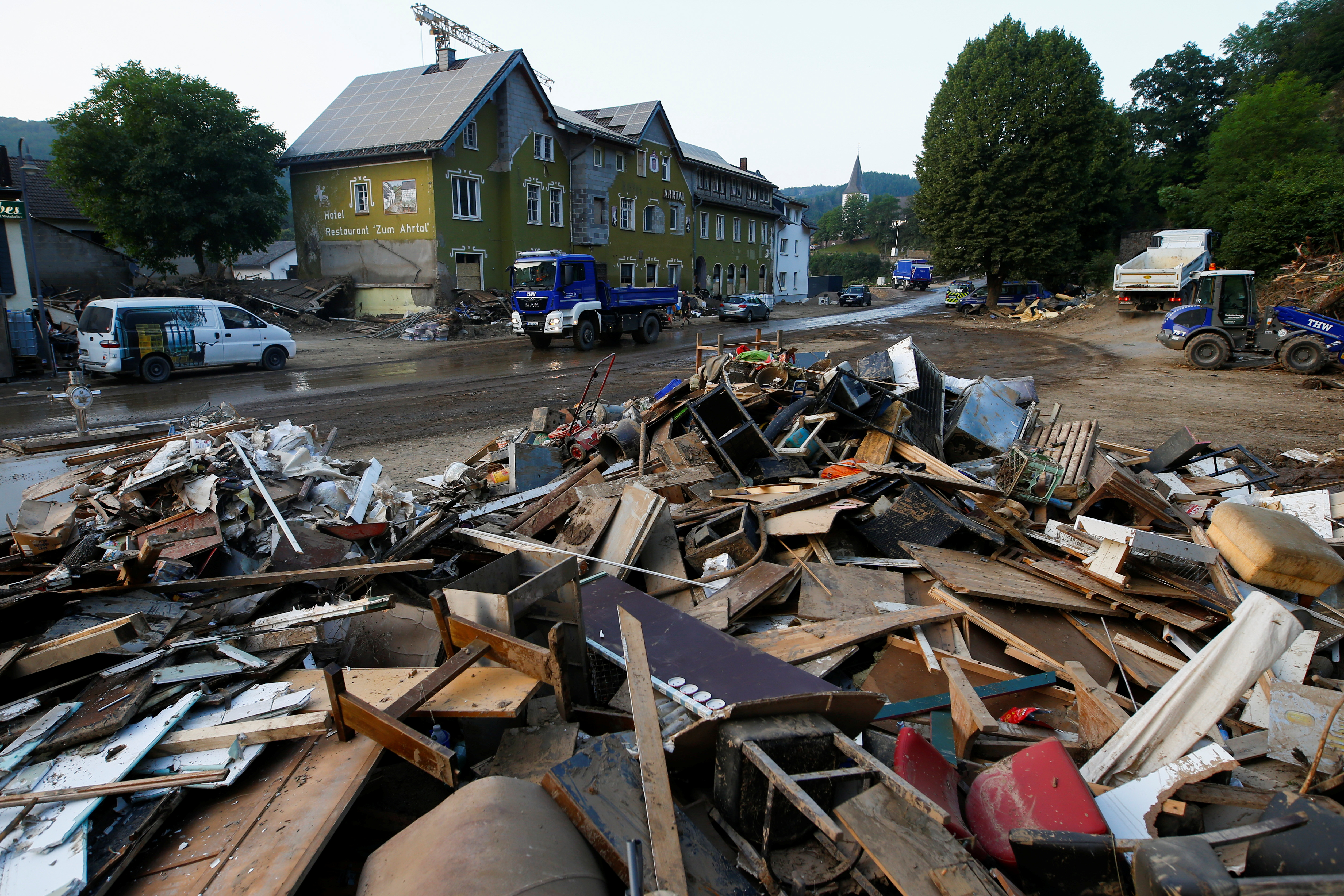 Debris are seen in an area affected by floods caused by heavy rainfalls in Schuld, Germany, July 20, 2021. REUTERS/Thilo Schmuelgen