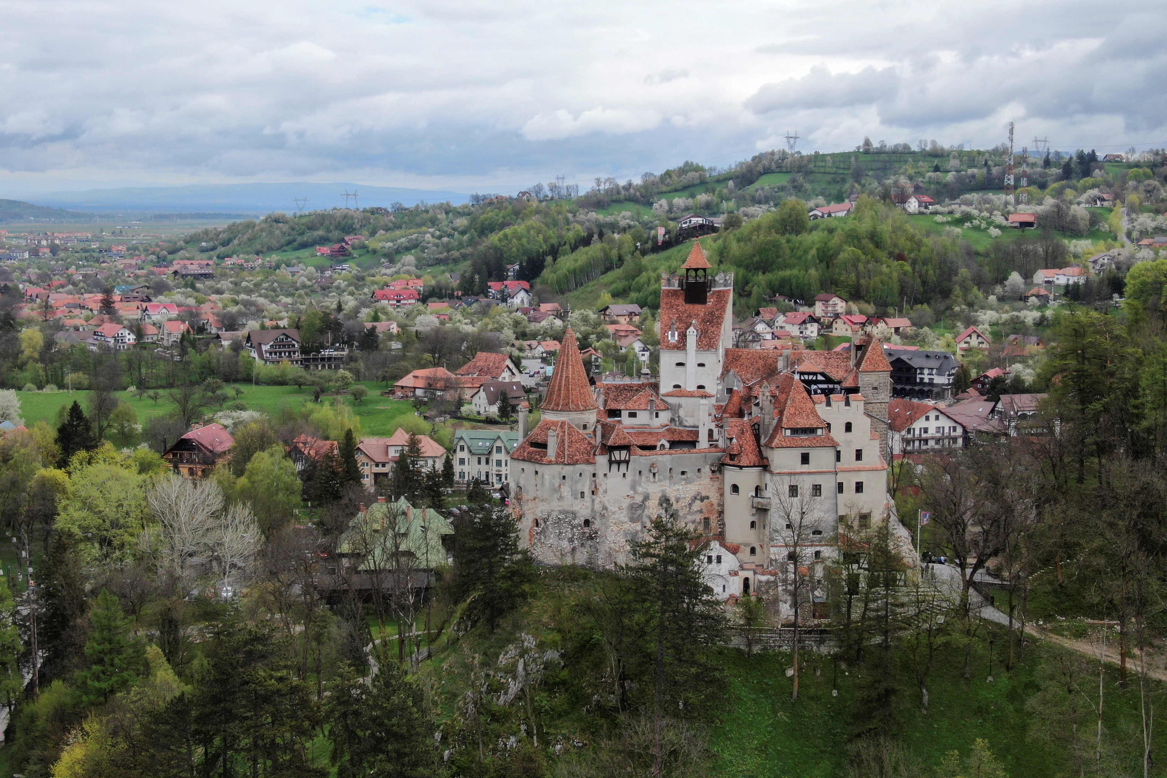 Bran Castle towers above Bran commune, in Brasov county, Romania, May 8, 2021.   Inquam Photos/George Calin via REUTERS