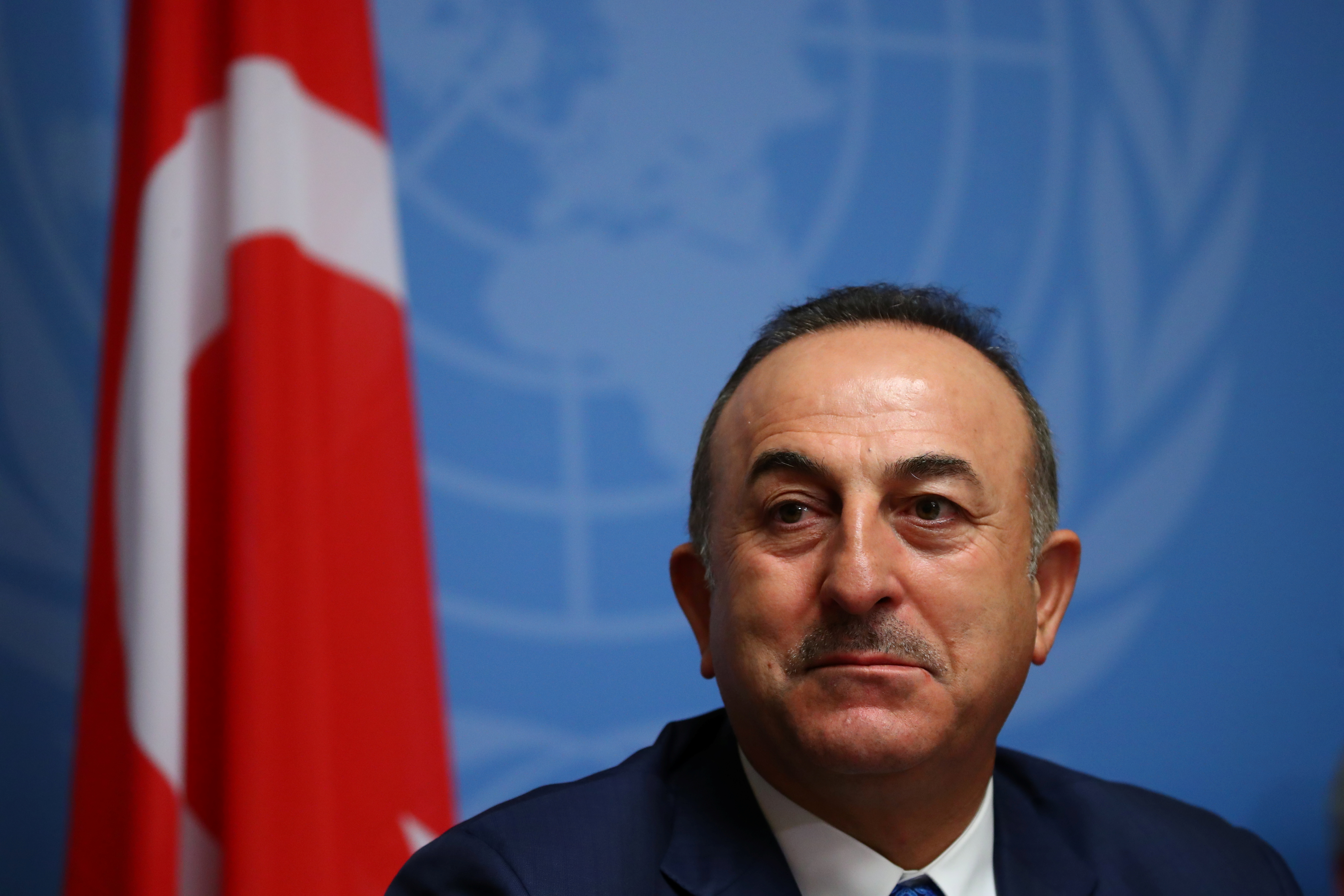 Turkey's Foreign Minister Mevlut Cavusoglu attends a news conference, a day ahead of the first meeting of the new Syrian Constitutional Committee at the Untied Nations in Geneva, Switzerland, October 29, 2019. REUTERS/Denis Balibouse