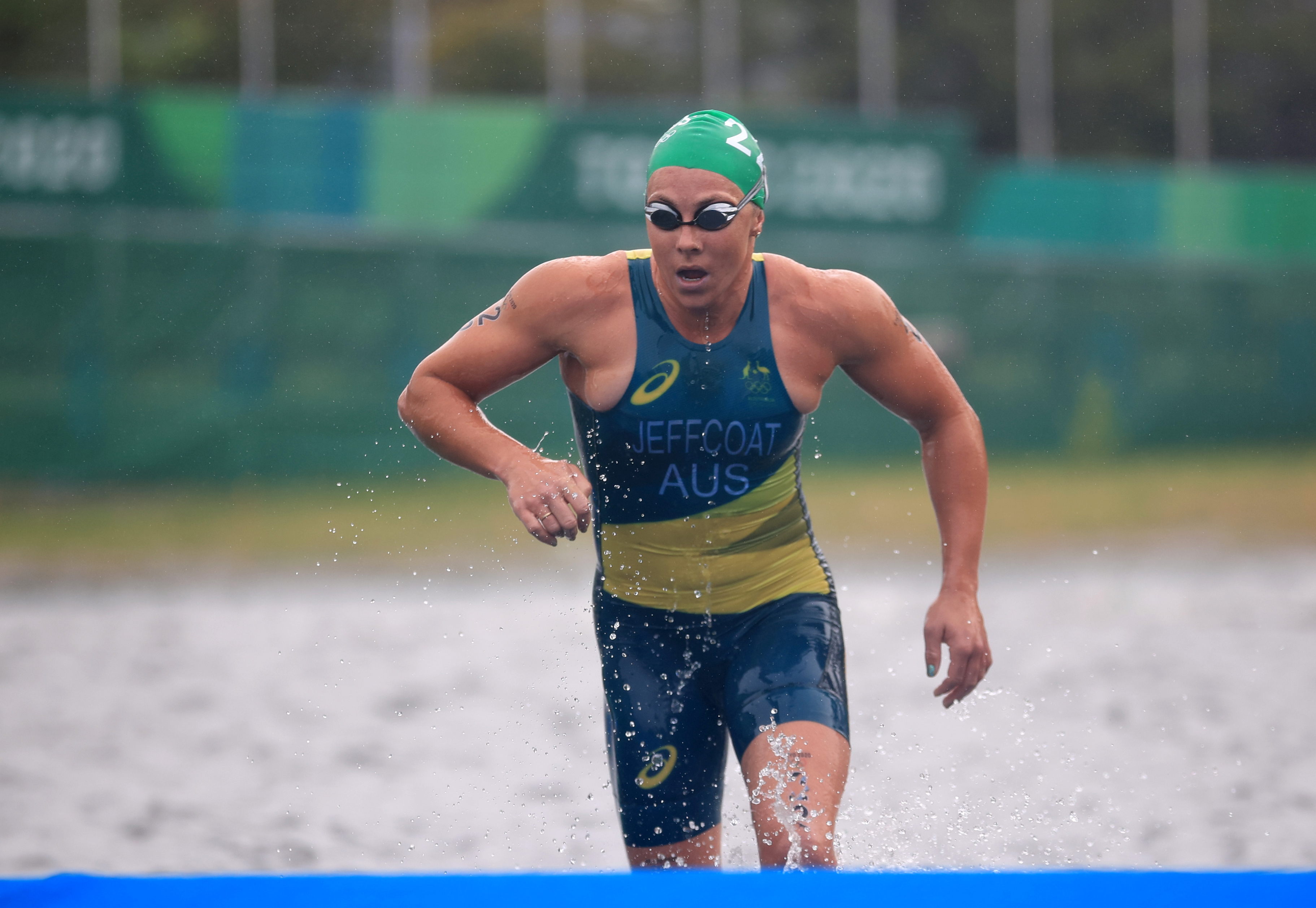 Tokyo 2020 Olympics - Triathlon - Women's Olympic Distance - Final - Odaiba Marine Park, Tokyo, Japan July 27, 2021. Emma Jeffcoat of Australia in action. REUTERS/Hannah Mckay