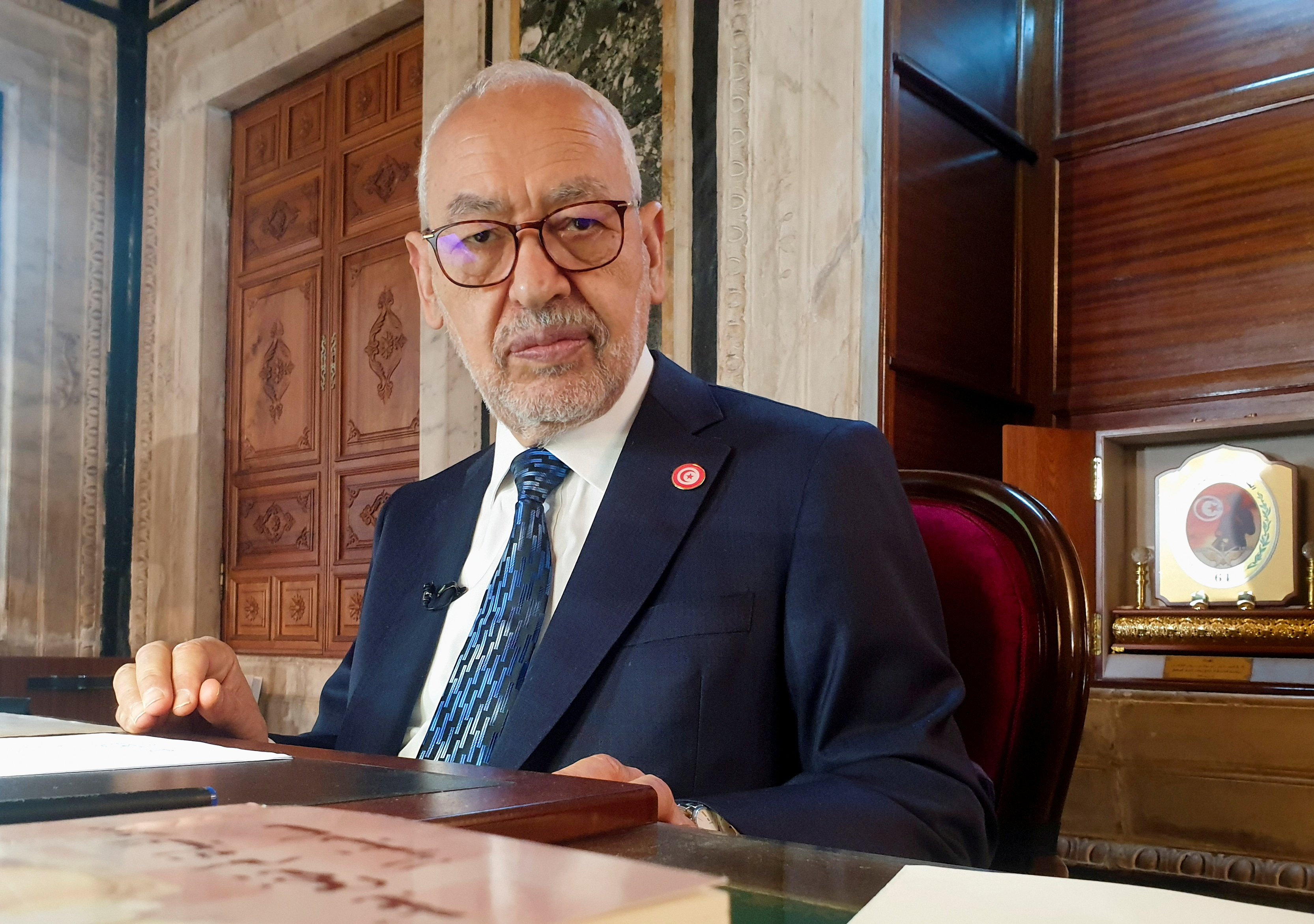 Rached Ghannouchi, head of the moderate Islamist Ennahda, poses during an interview with Reuters in his office, in Tunis, Tunisia, March 9, 2021.  REUTERS/Jihed Abidellaoui/File Photo