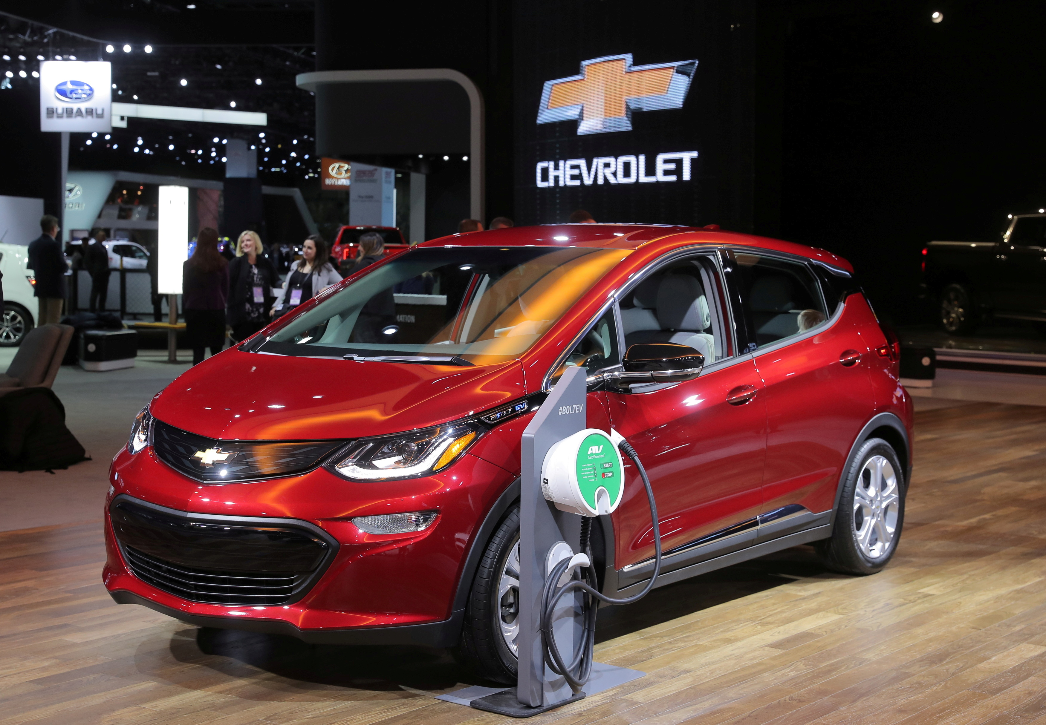 A 2019 Chevrolet Bolt plug-in electric vehicle is displayed at the North American International Auto Show in Detroit, Michigan, U.S., January 15, 2019. REUTERS/Rebecca Cook