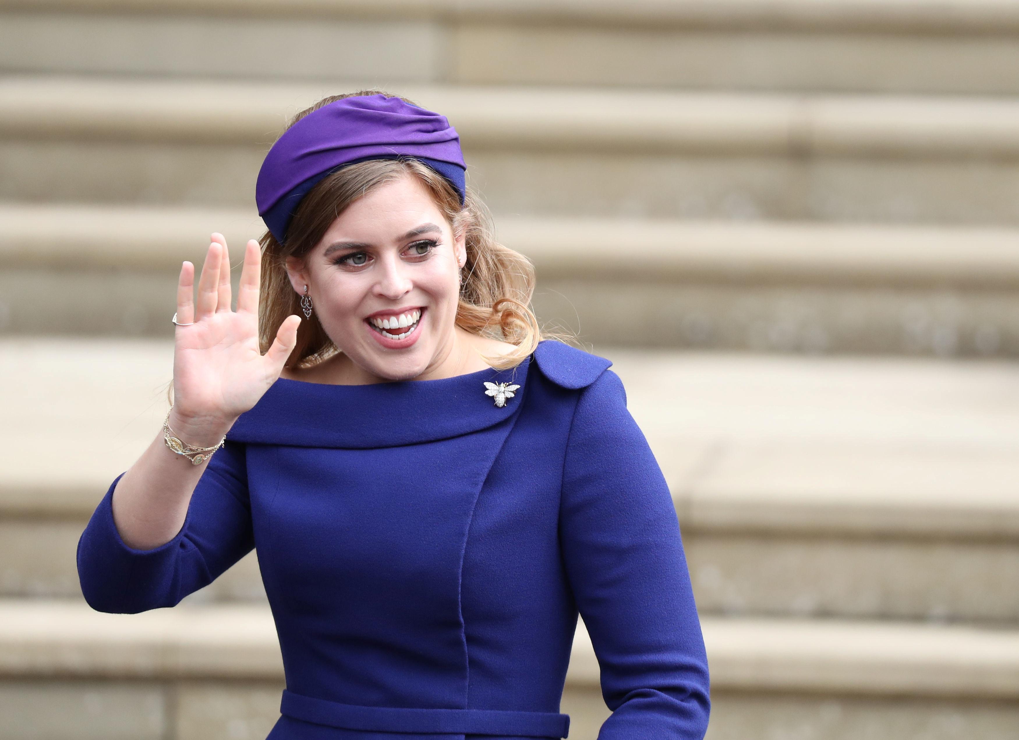Princess Beatrice arrives for the wedding of Princess Eugenie to Jack Brooksbank at St George's Chapel in Windsor Castle, Windsor, Britain, October 12, 2018. Steve Parsons/Pool via REUTERS