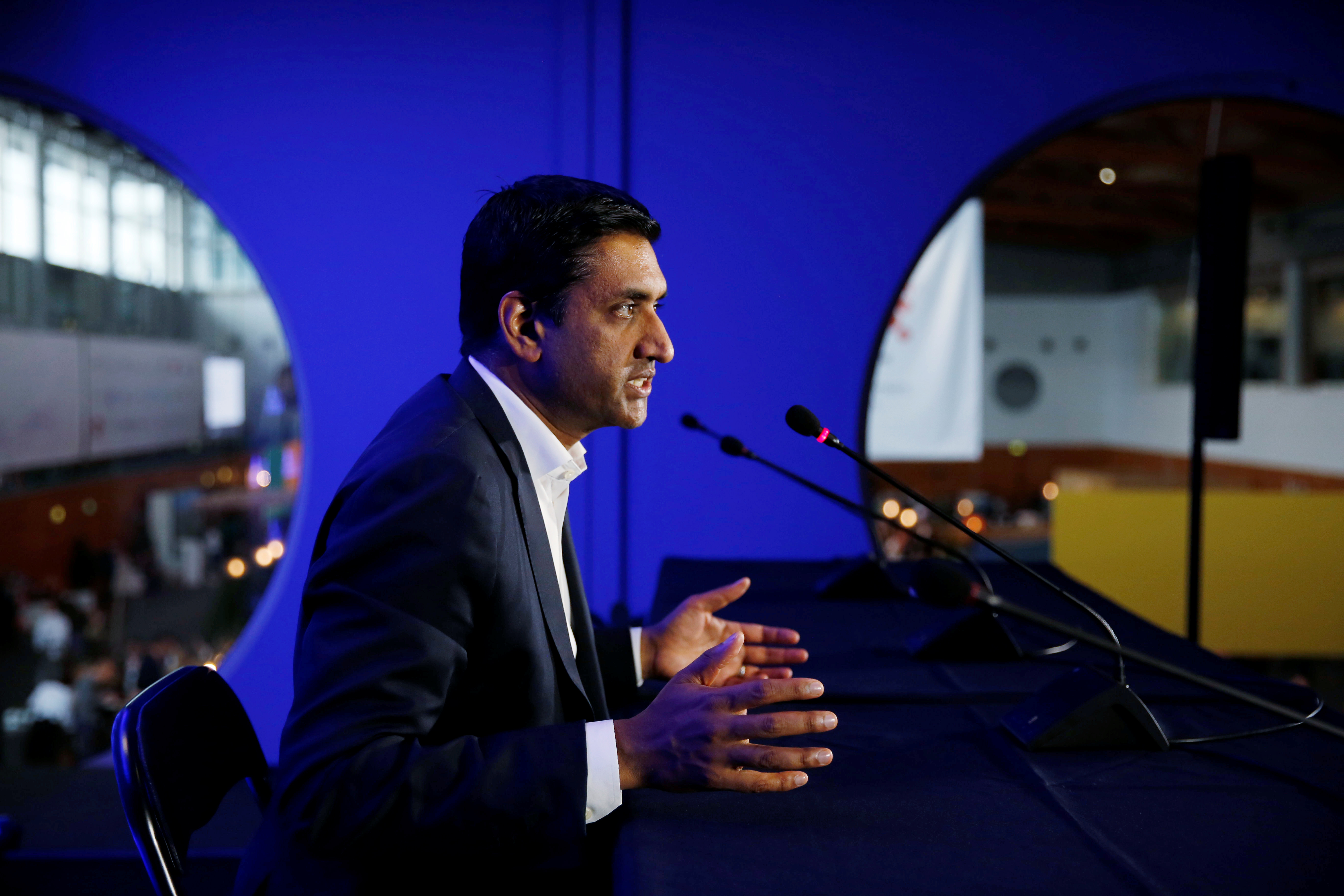 US Democratic Representative Ro Khanna, vice chair of the 98-member Congressional Progressive Caucus, holds a news conference during Web Summit, in Lisbon, Portugal, November 6, 2019. REUTERS/Pedro Nunes