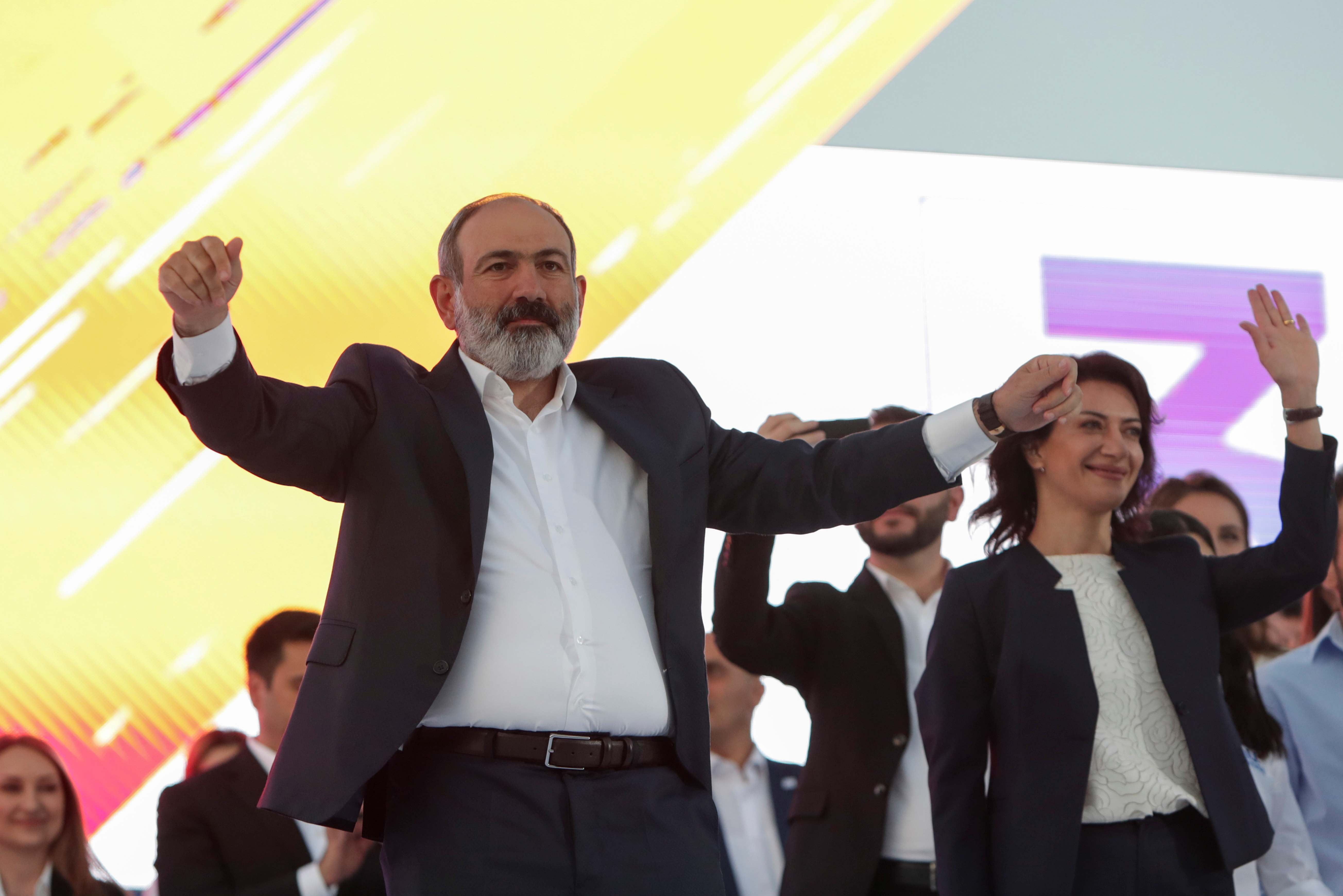 Armenia's acting Prime Minister and leader of Civil Contract party Nikol Pashinyan attends a campaign rally ahead of the upcoming snap parliamentary election in Yerevan, Armenia June 17, 2021. Vahram Baghdasaryan/Photolure via REUTERS