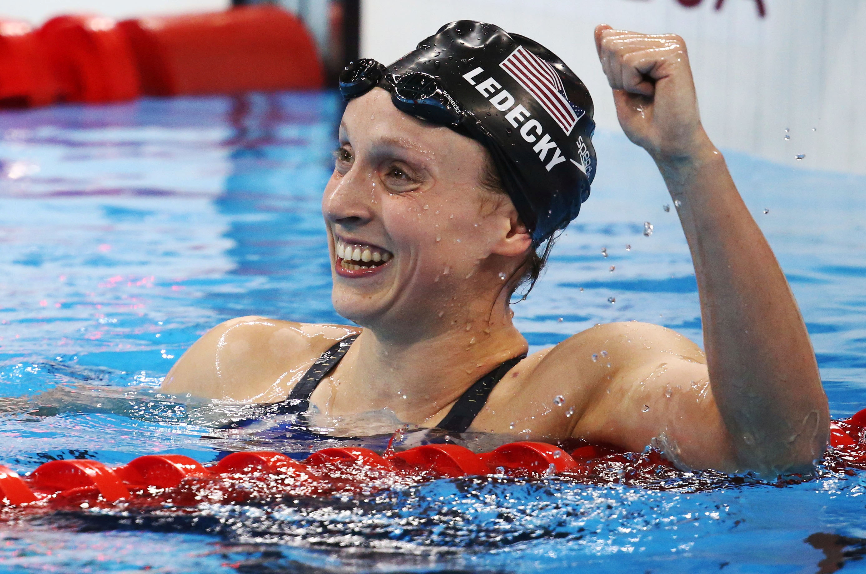 2016 Rio Olympics - Swimming - Katie Ledecky (USA) reacts after winning and setting a new world record in Olympic women's 800m freestyle final - Olympic Aquatics Stadium - Rio de Janeiro, Brazil - 12/08/2016. REUTERS/Marcos Brindicci