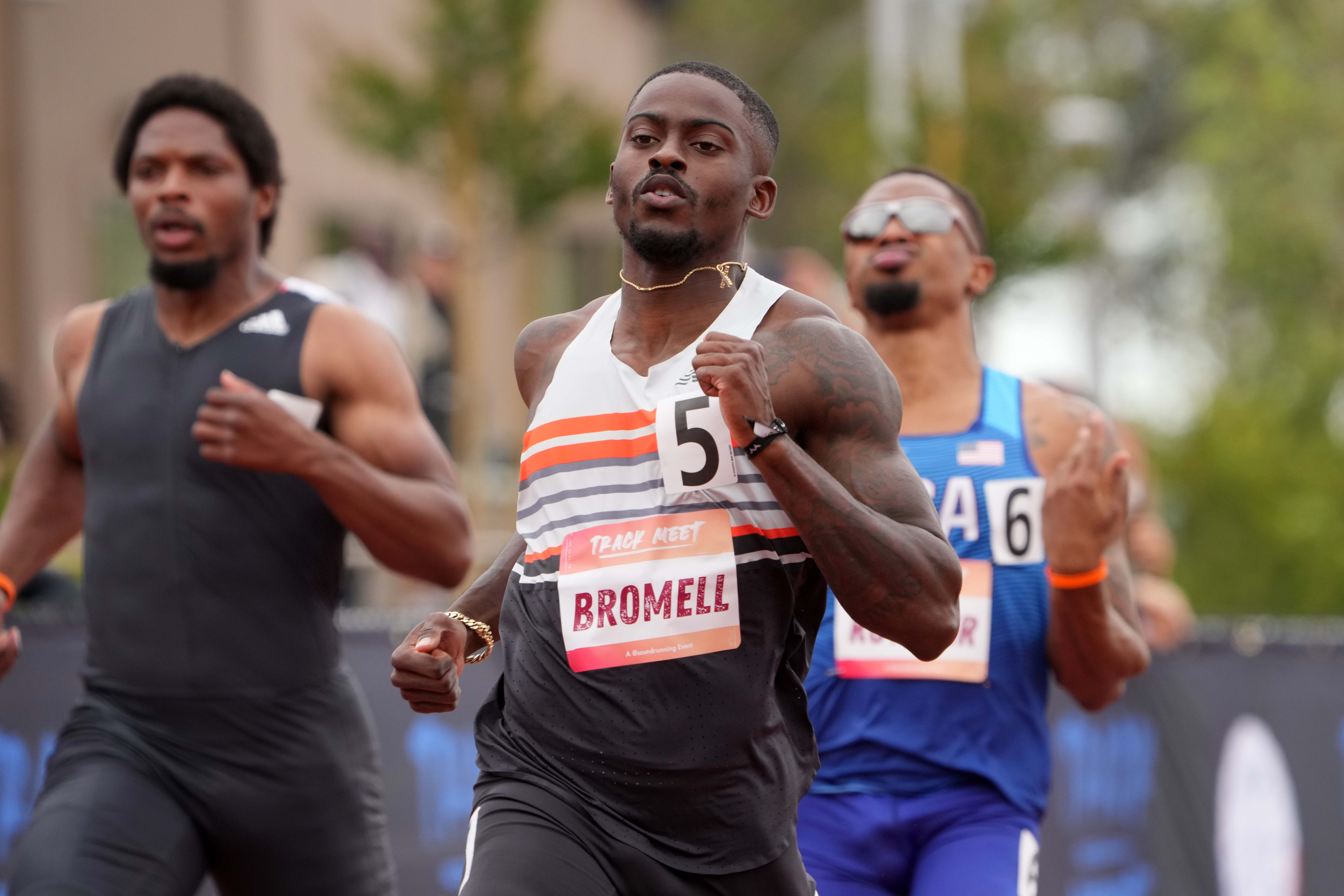 May 15, 2021; Irvine, California, USA; Trayvon Bromell (USA) wins the 100m in 9.92 during the Track Meet in a World Athletics Continental Tour competition at Crean Lutheran High School. Mandatory Credit: Kirby Lee-USA TODAY Sports