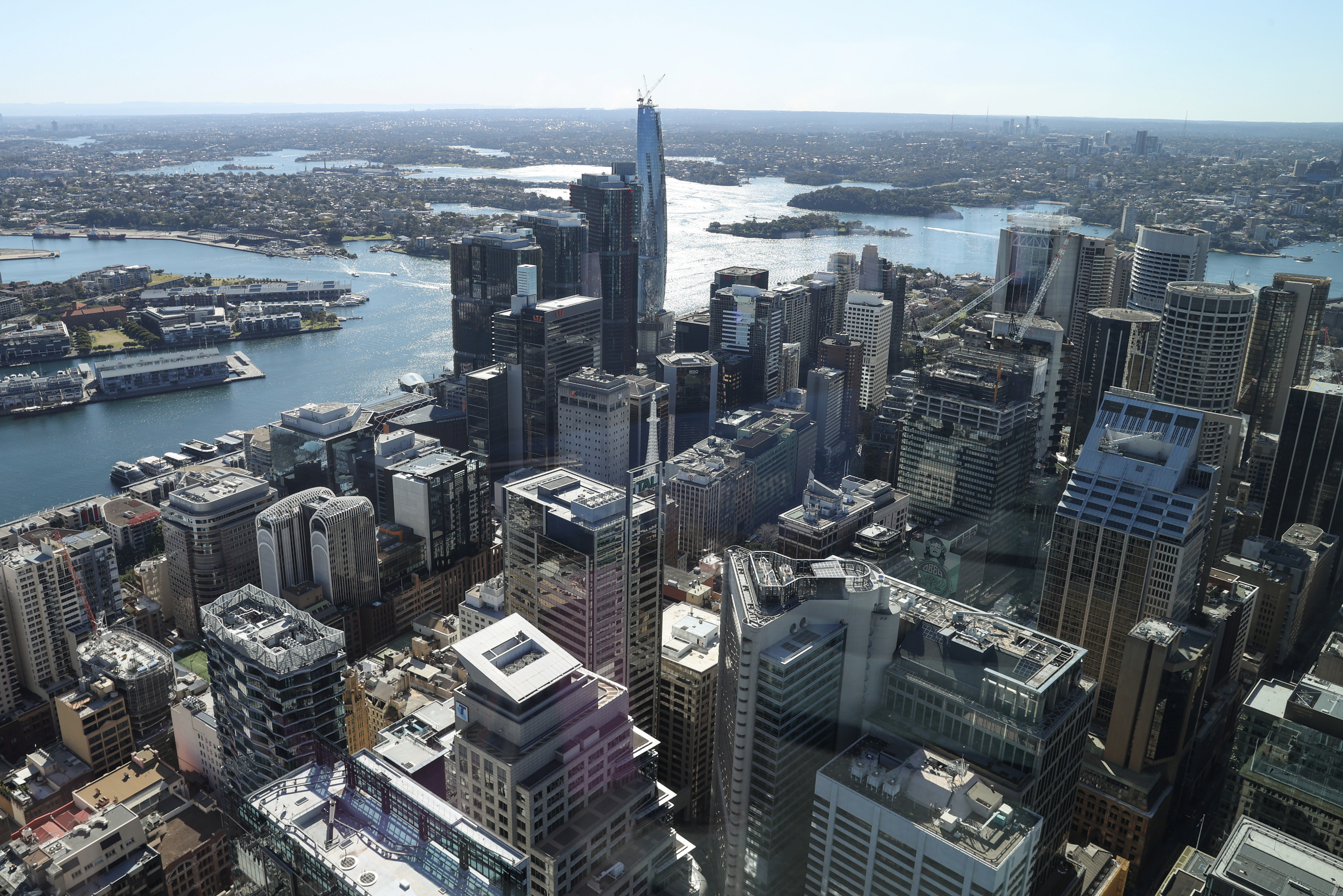 A view of the Central Business District and surrounding city is seen from the Sydney Tower Eye observation deck as the state of New South Wales continues to report low numbers for new daily cases of the coronavirus disease (COVID-19), in Sydney, Australia, August 28, 2020. REUTERS/Loren Elliott