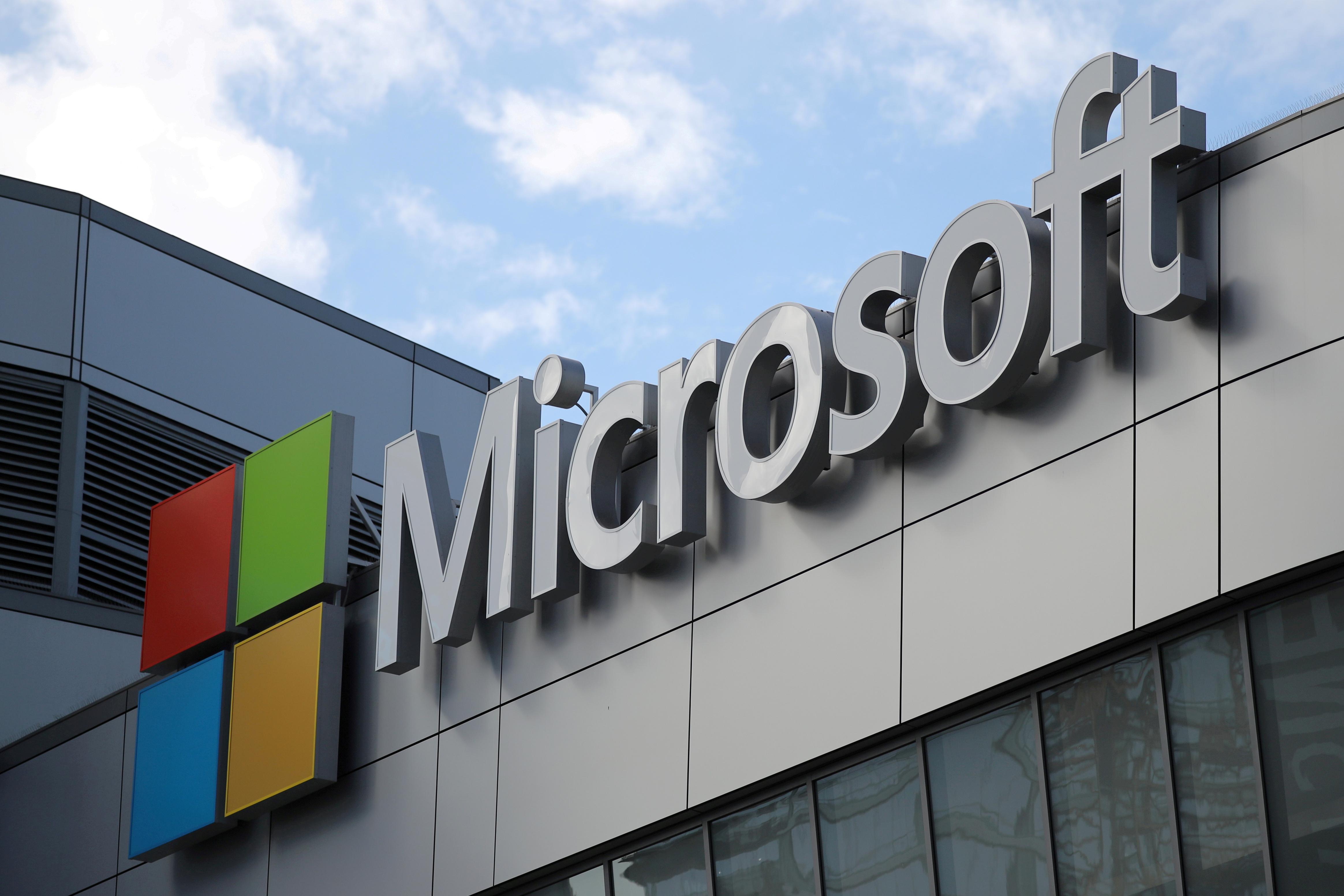 A Microsoft logo is seen in Los Angeles, California U.S. November 7, 2017. REUTERS/Lucy Nicholson/File Photo