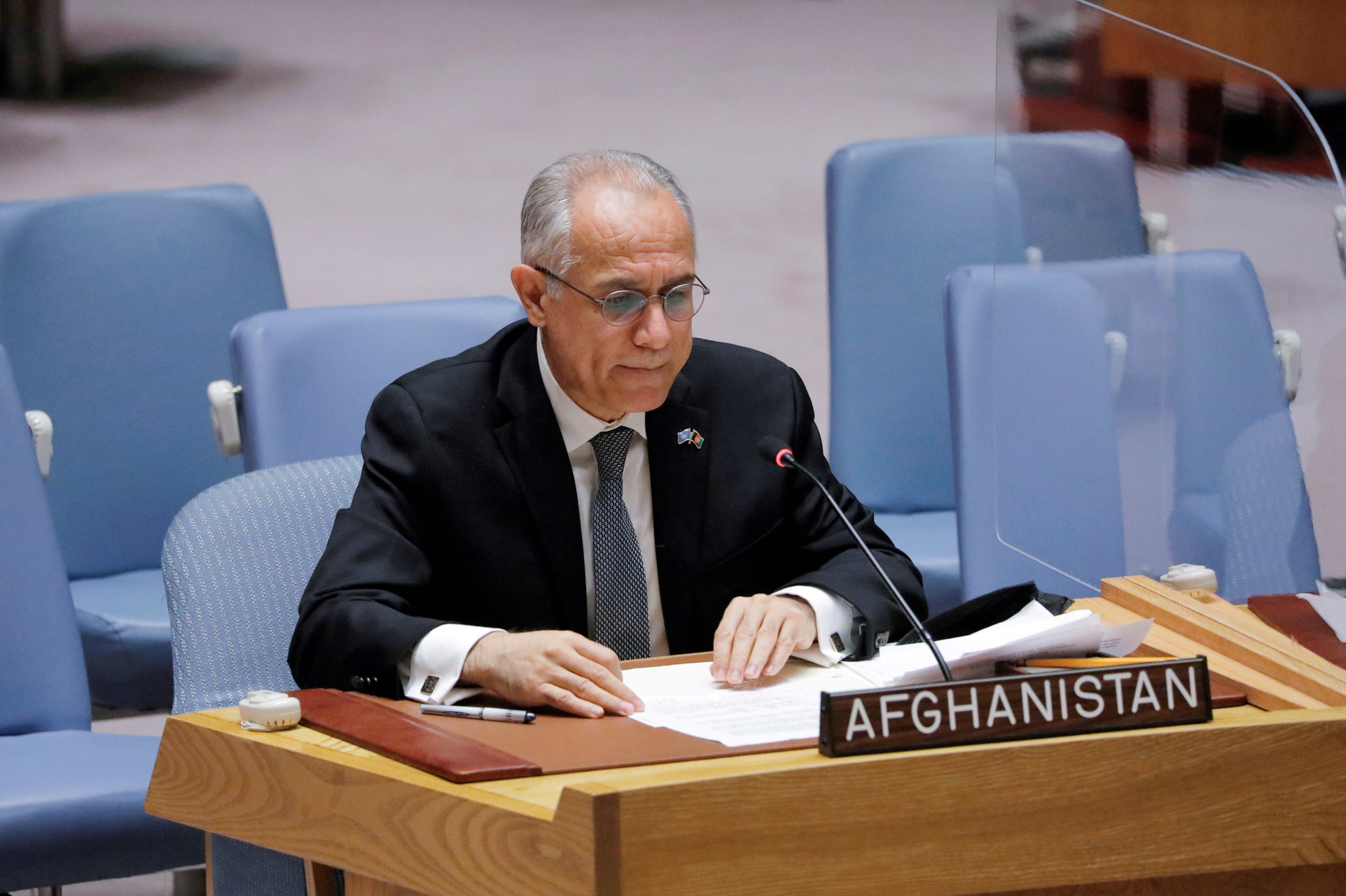 Afghanistan's U.N. ambassador Ghulam Isaczai addresses the United Nations Security Council regarding the situation in Afghanistan at the United Nations in New York City, New York, U.S., August 16, 2021. REUTERS/Andrew Kelly/File Photo