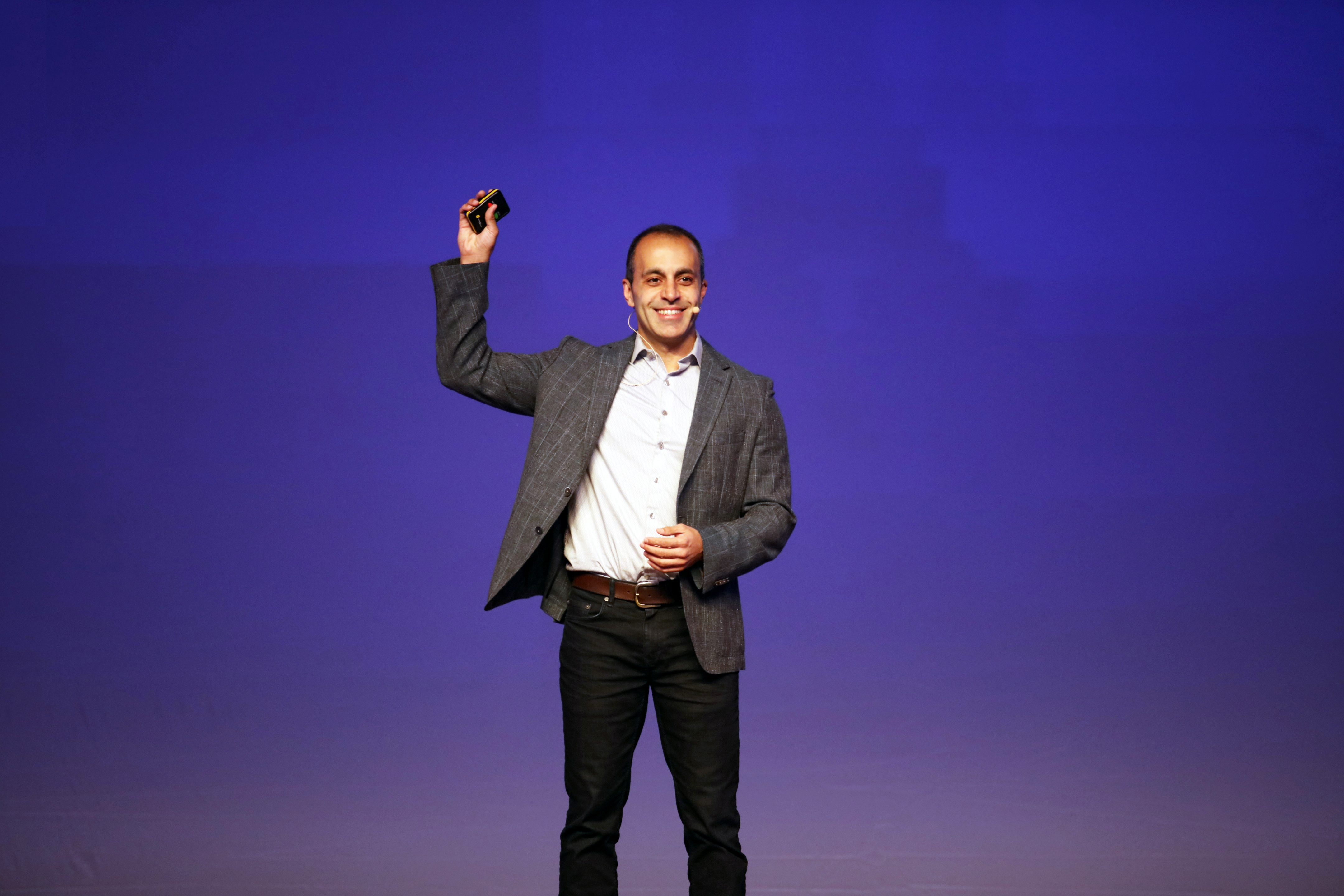 Databricks' CEO and co-founder Ali Ghodsi speaks at Spark + AI Summit Europe in London, Britain in October, 2019.  Courtesy of Databricks/Handout via REUTERS