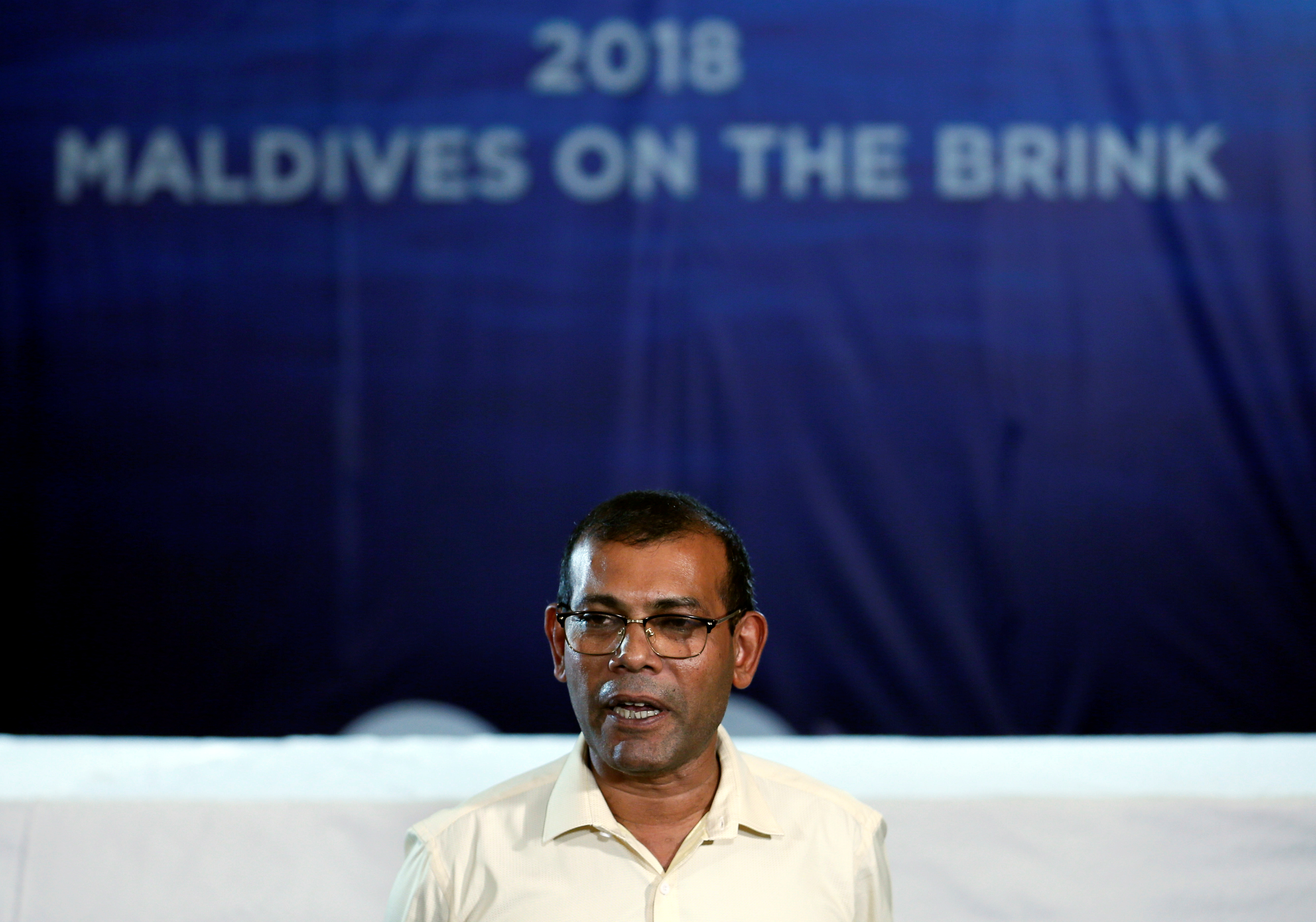 Maldives former President Mohamed Nasheed speaks to the media at the end of the Maldives presidential election day at a hotel in Colombo, Sri Lanka September 24, 2018. REUTERS/Dinuka Liyanawatte