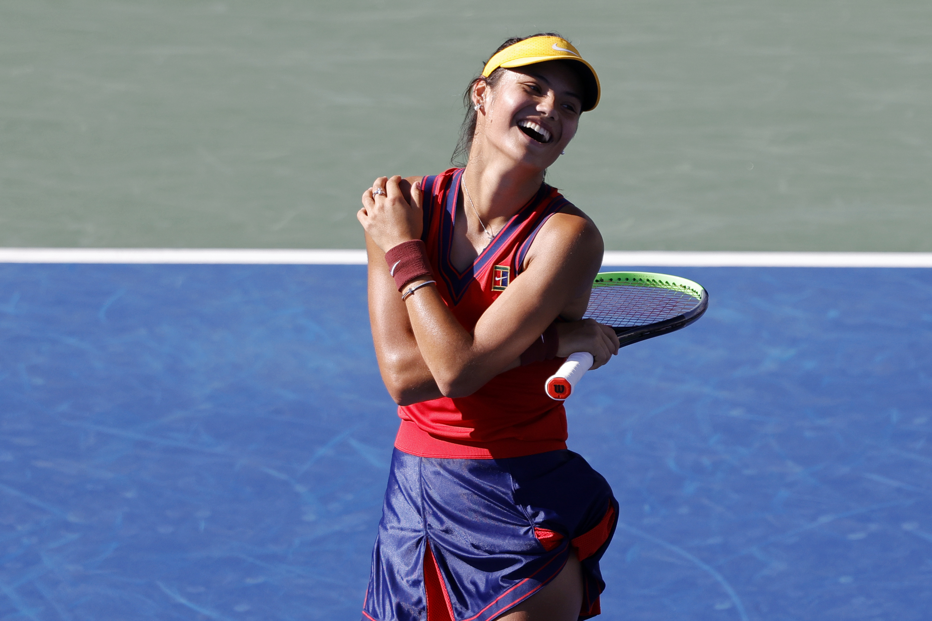 Sep 4, 2021; Flushing, NY, USA; Emma Raducanu of Great Britain celebrates against Sara Sorribes Tormo of Spain (not pictured) on day six of the 2021 U.S. Open tennis tournament at USTA Billie Jean King National Tennis Center. Mandatory Credit: Geoff Burke-USA TODAY Sports
