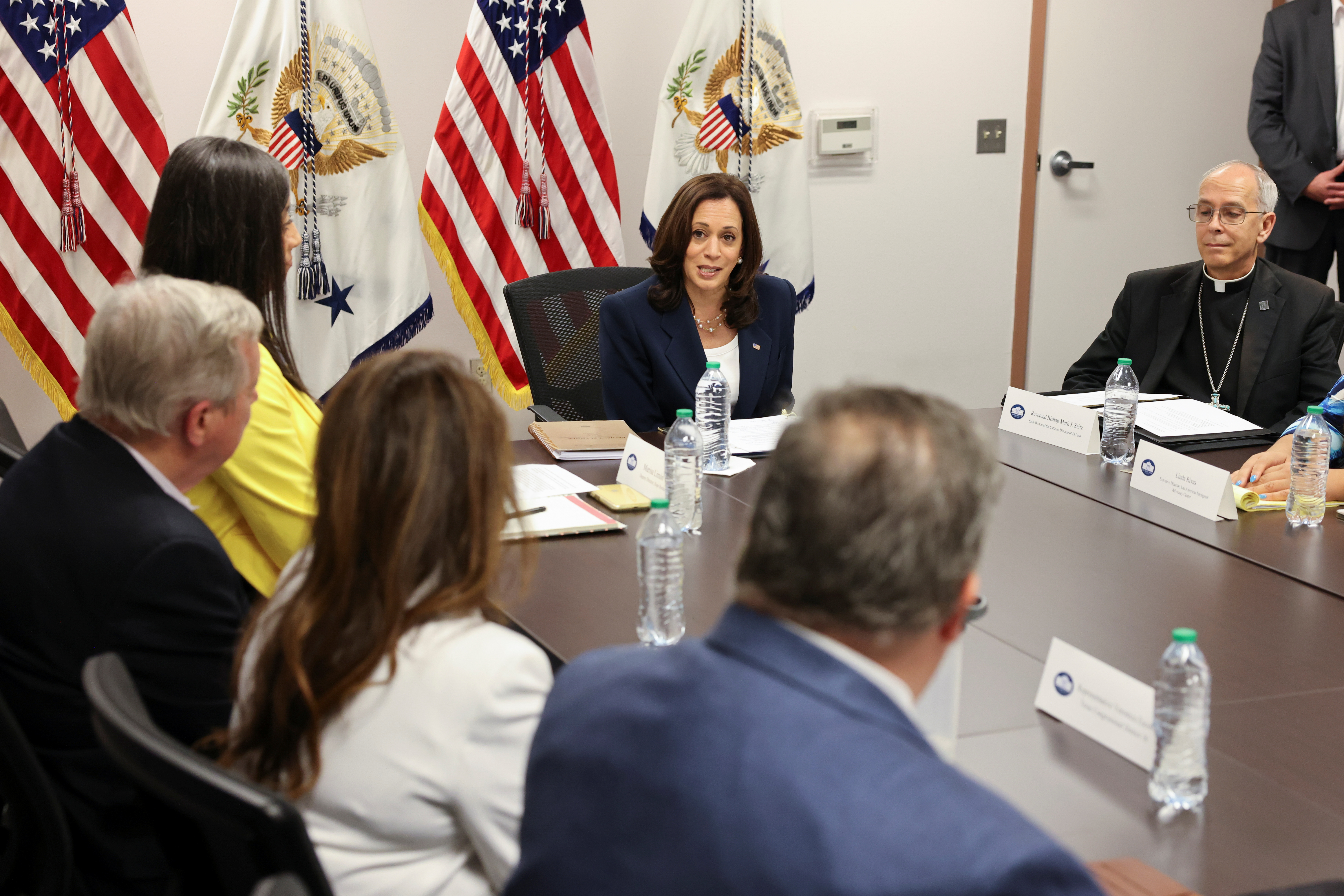U.S. Vice President Kamala Harris takes part in a round table with faith and community leaders who are assisting with the processing of migrants seeking asylum, at Paso del Norte Port of Entry in El Paso, Texas, U.S., June 25, 2021. REUTERS/Evelyn Hockstein