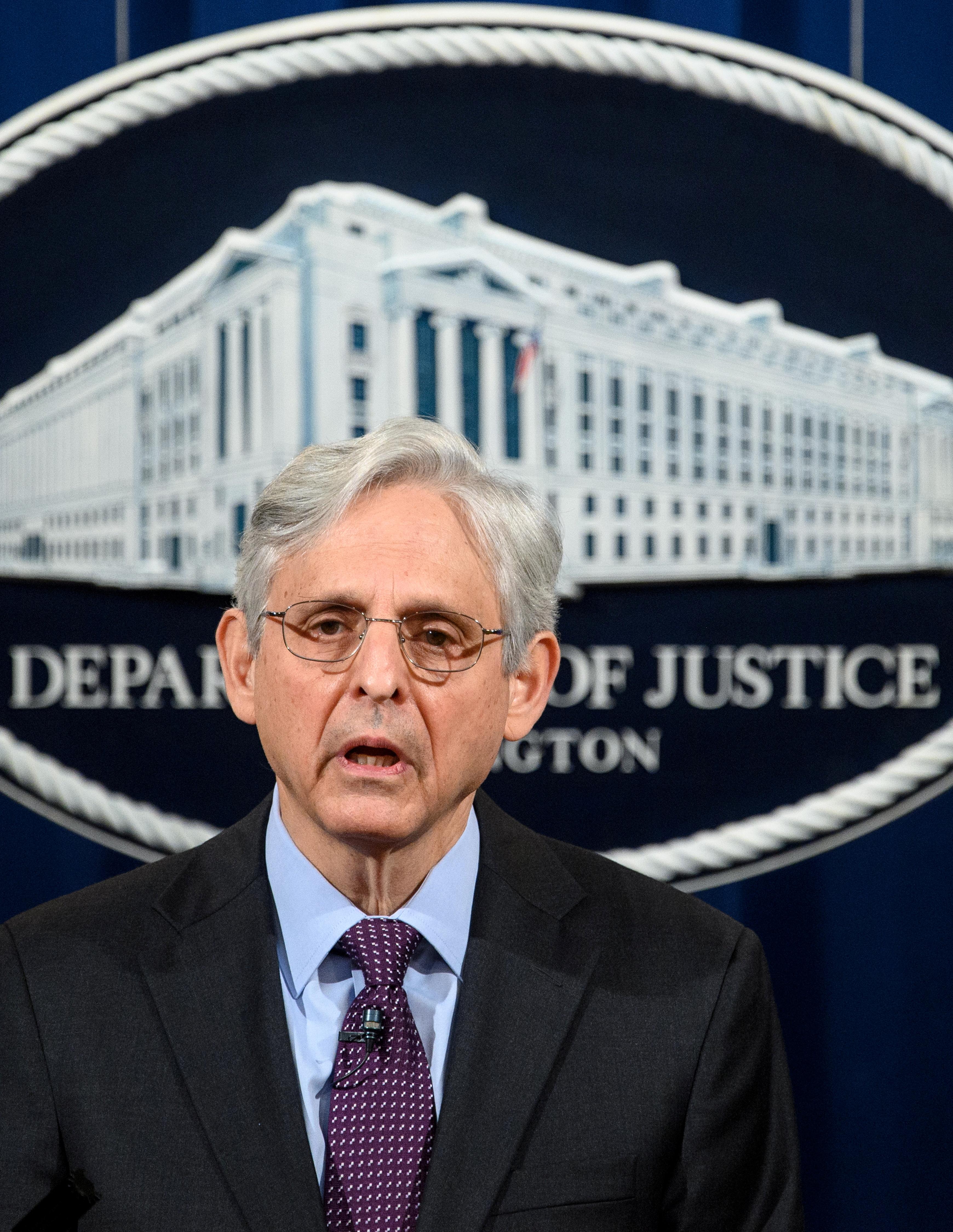 U.S. Attorney General Merrick Garland delivers a statement at the Department of Justice in Washington, U.S. April 26, 2021. Mandel Ngan/Pool via REUTERS