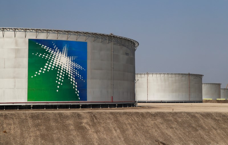 A view shows branded oil tanks at Saudi Aramco oil facility in Abqaiq, Saudi Arabia October 12, 2019. REUTERS/Maxim Shemetov