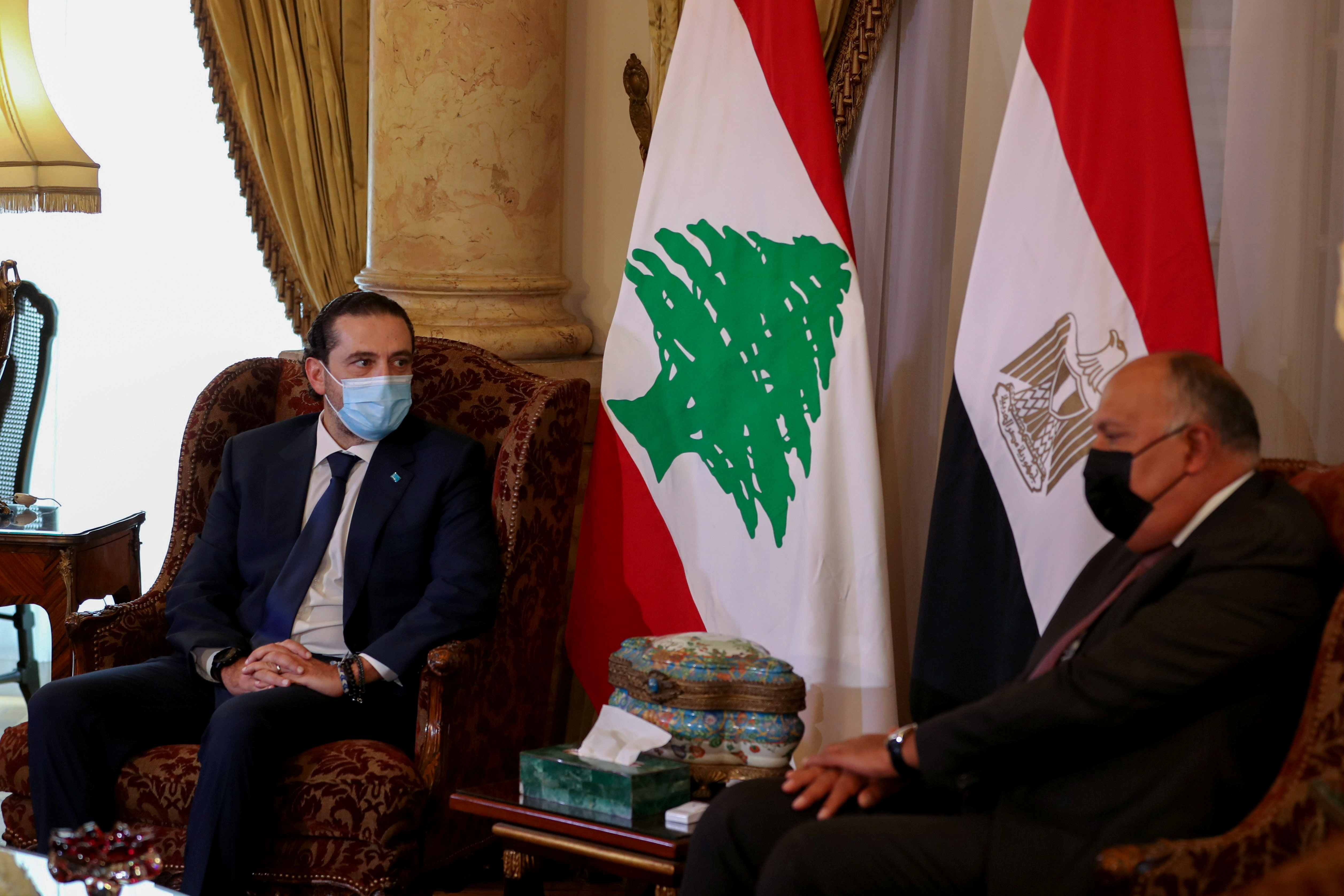 Egyptian Foreign Minister Sameh Shoukry meets with Lebanese Prime Minister-designate Saad al-Hariri at Tahrir Palace in Cairo, Egypt July 14, 2021. REUTERS/Mohamed Abd El Ghany