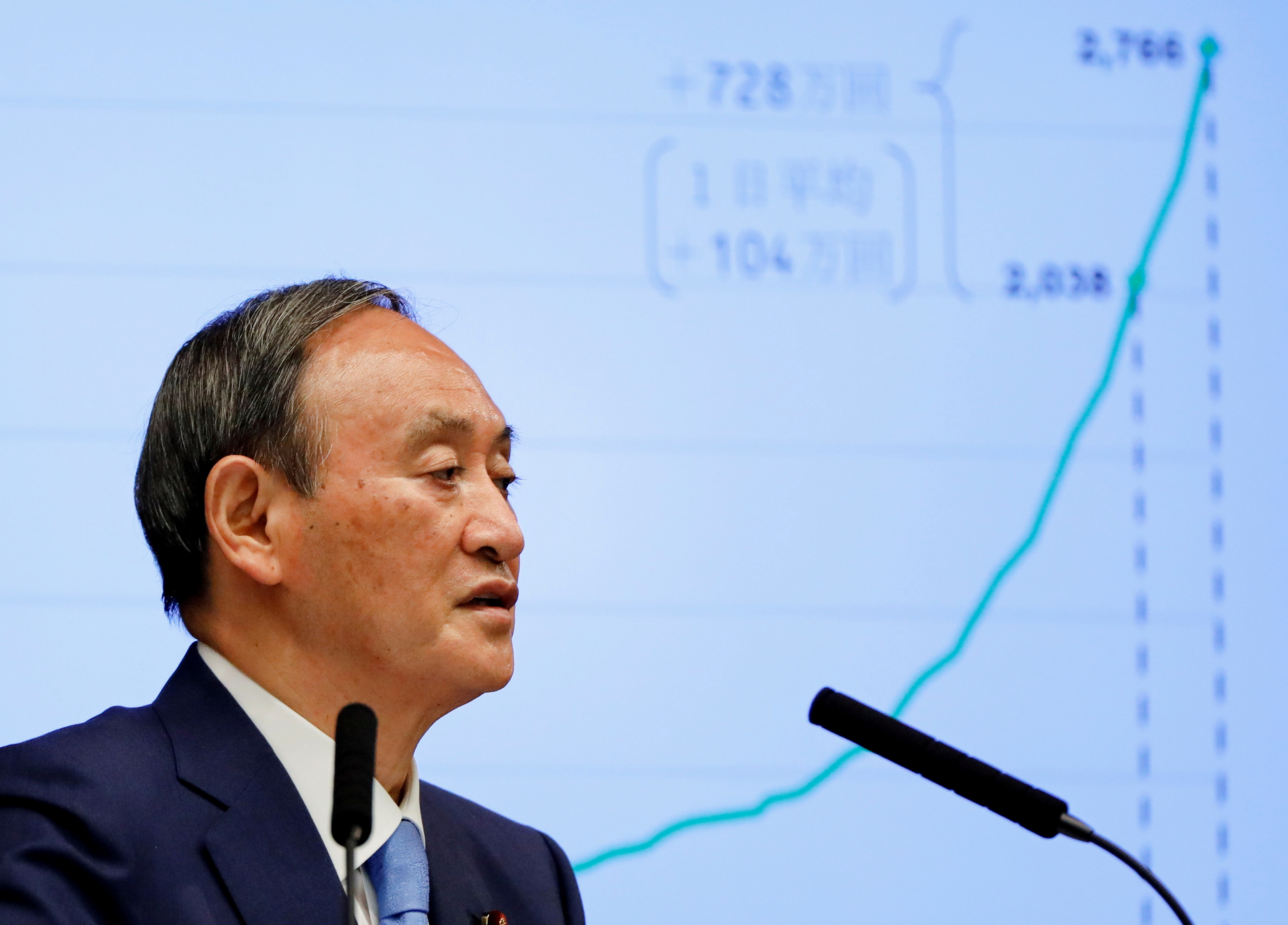 Japanese Prime Minister Yoshihide Suga attends a news conference on Japan's response to the coronavirus disease (COVID-19) outbreak, at his official residence in Tokyo, Japan, June 17, 2021. REUTERS/Issei Kato/Pool/File Photo