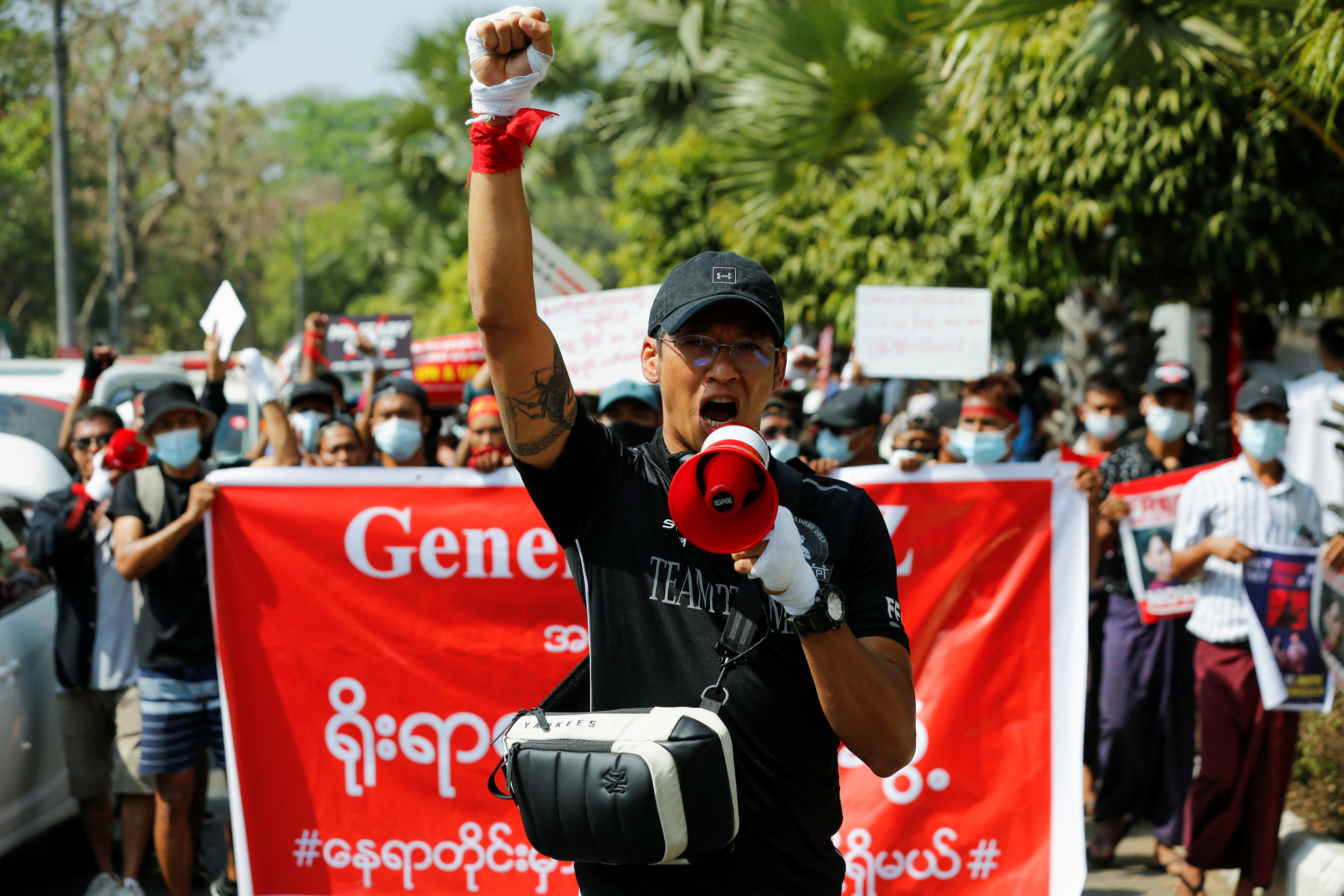 Mixed martial arts fighter Phoe Thaw attends an anti-coup protest in Yangon, Myanmar, February 16, 2021. Picture taken February 16, 2021. REUTERS/Stringer