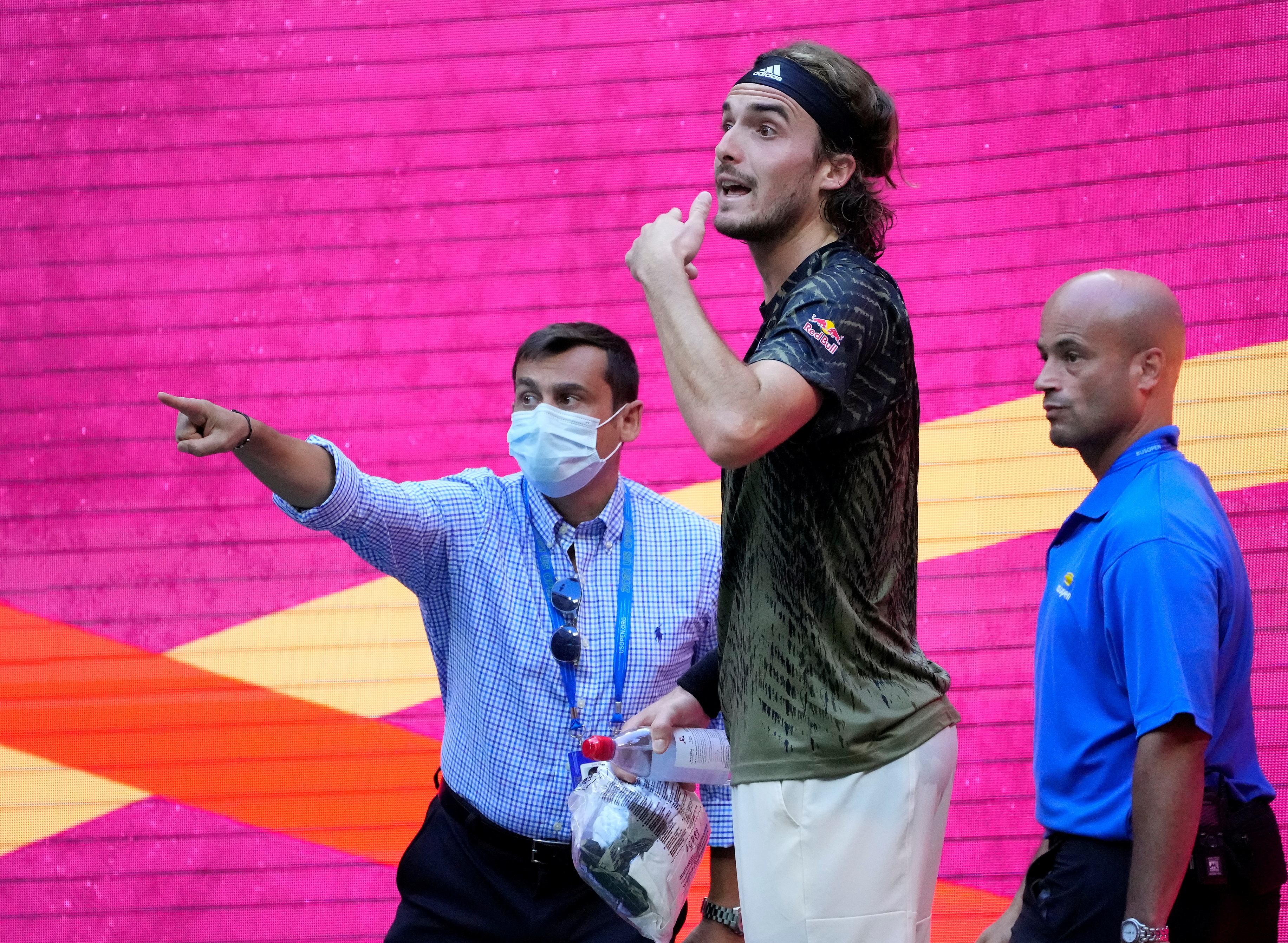 Sep 3, 2021; Flushing, NY, USA;  Stefanos Tsitsipas of Greece headed to bathroom on a break after losing the 3rd set against Carlos Alcaraz of Spain on day five of the 2021 U.S. Open tennis tournament at USTA Billie King National Tennis Center. Mandatory Credit: Robert Deutsch-USA TODAY Sports/File Photo