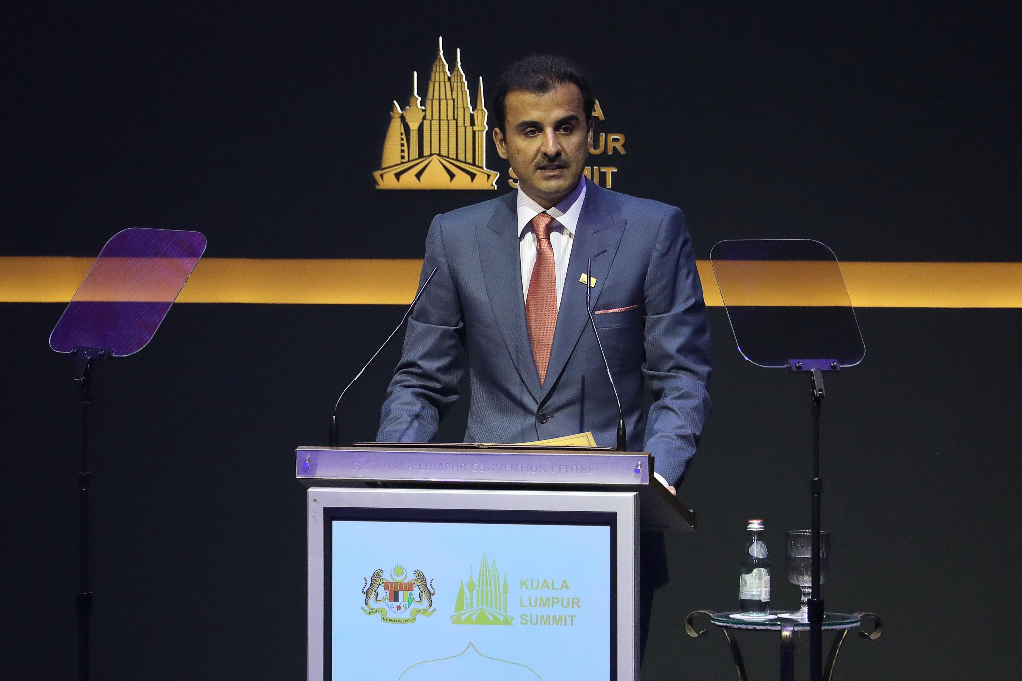 Qatar's Emir Sheikh Tamim bin Hamad Al Thanispeaks during Kuala Lumpur Summit in Kuala Lumpur, Malaysia, December 19, 2019. REUTERS/Lim Huey Teng