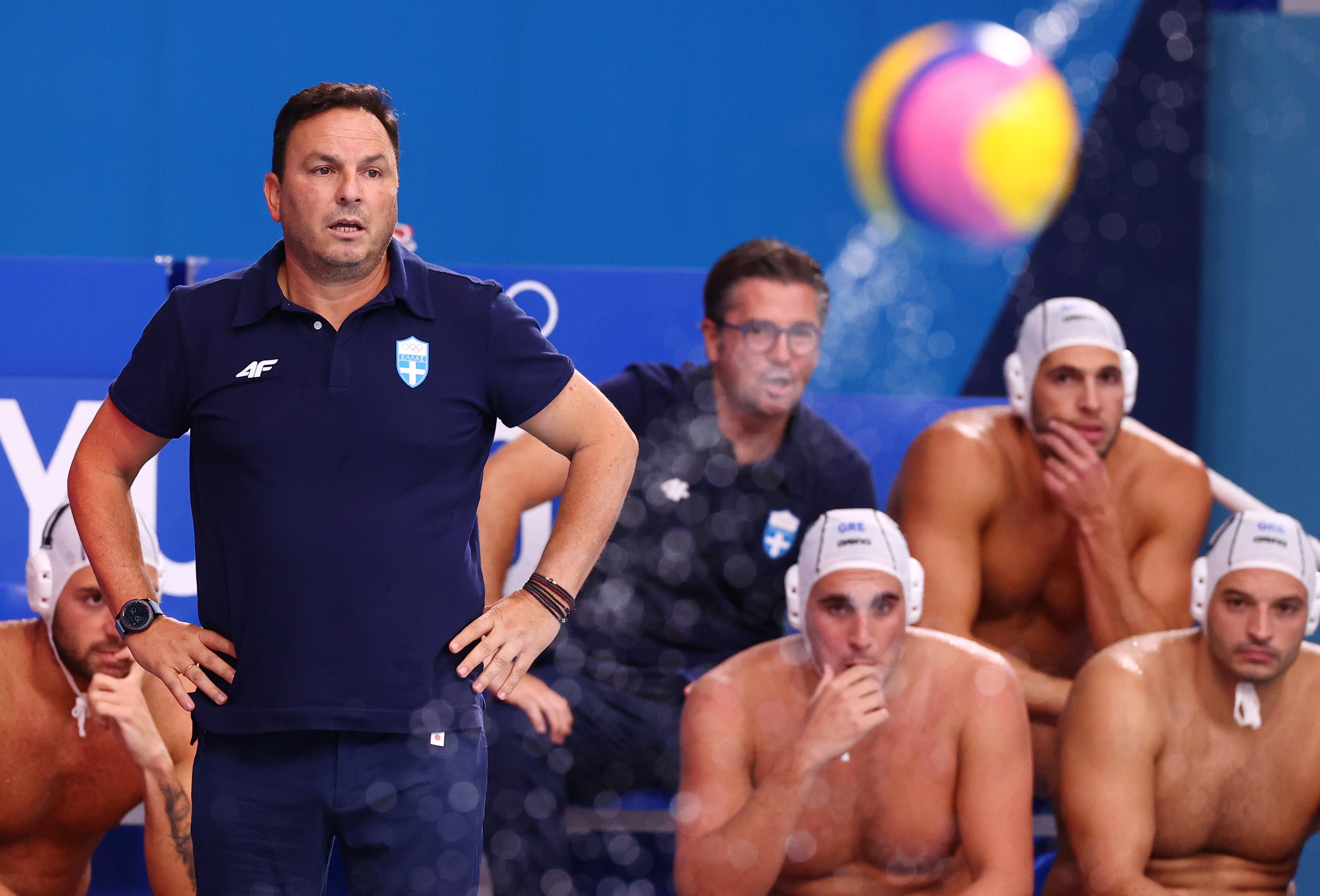 Tokyo 2020 Olympics - Water Polo - Men - Group A - Greece v Japan -  Tatsumi Water Polo Centre, Tokyo, Japan – July 29, 2021. Greece's head coach Theodoros Vlachos reacts. REUTERS/Kacper Pempel