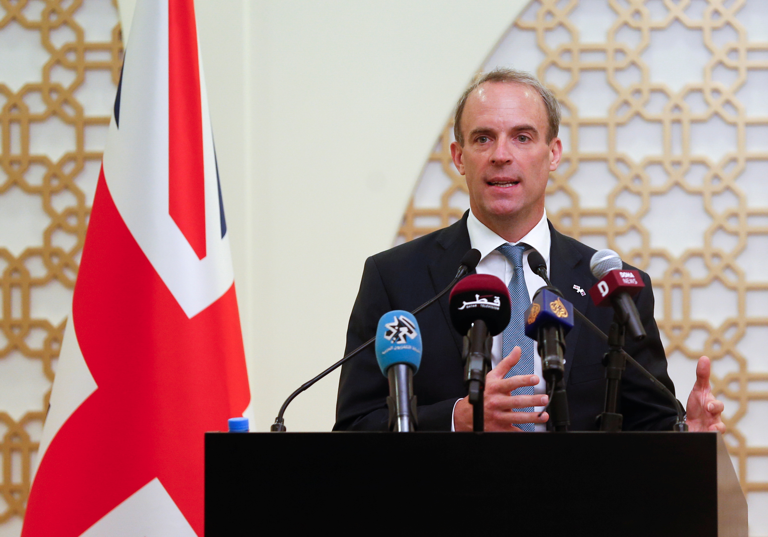 Britain's Foreign Secretary Dominic Raab speaks during a joint news conference with Qatari Foreign Minister Sheikh Mohammed bin Abdulrahman Al-Thani in Doha, Qatar, September 2, 2021. REUTERS/Hamad l Mohammed