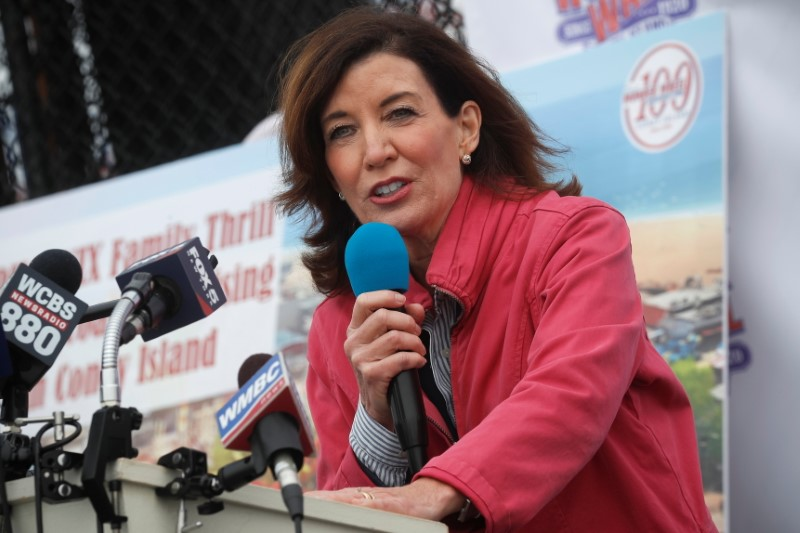 New York State Lieutenant Governor Kathy Hochul speaks during an opening ceremony on the first day of the Coney Island parks reopening, during the coronavirus disease (COVID-19) pandemic, in the Coney Island neighborhood of Brooklyn, New York, U.S., April 9, 2021.  REUTERS/Brendan McDermid