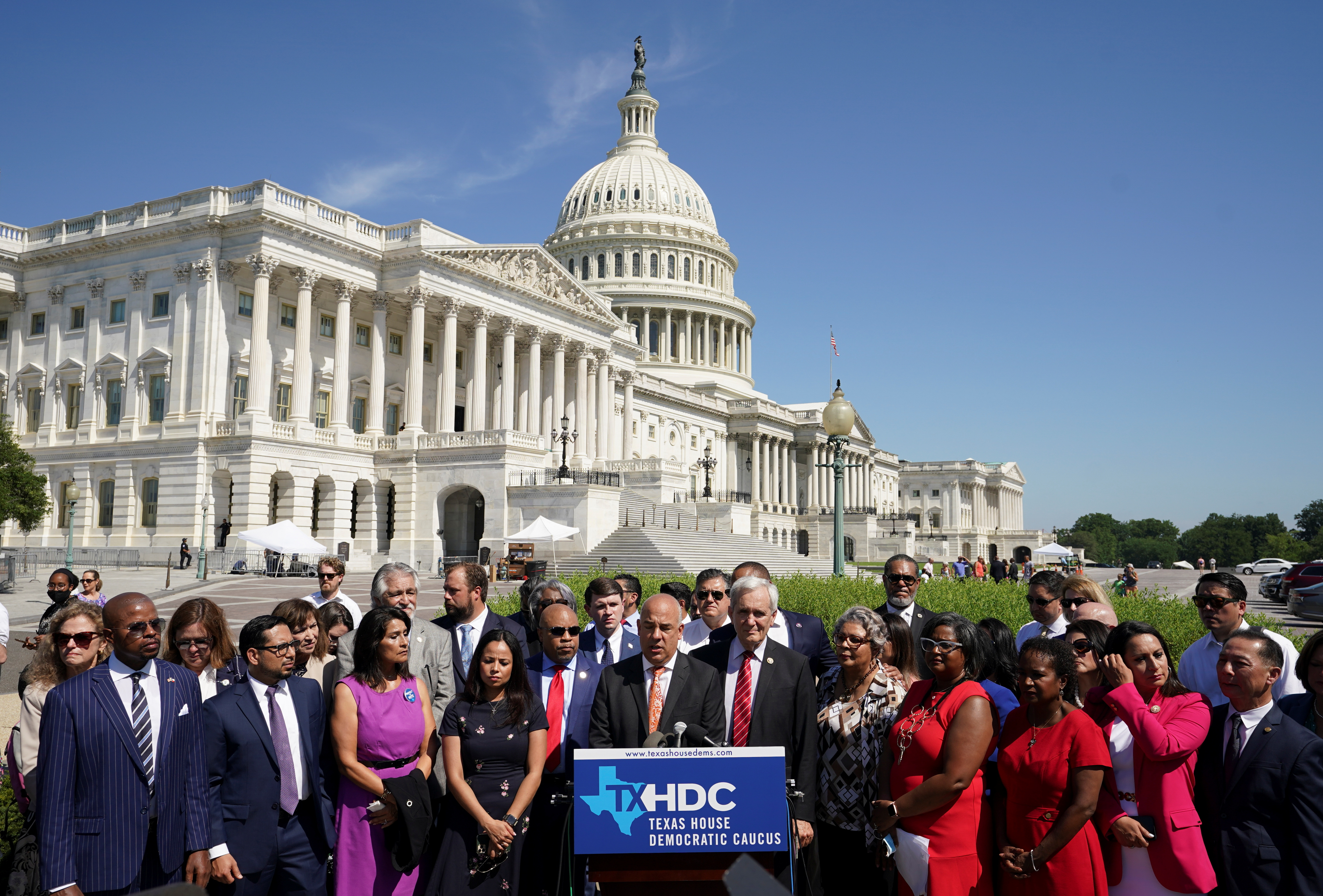 Representative Chris Turner (D-TX) joins other Democratic members of the Texas House of Representatives, who are boycotting a special session of the legislature in an effort to block Republican-backed voting restrictions, as they speak in front of the U.S. Capitol in Washington, U.S., July 13, 2021. REUTERS/Kevin Lamarque