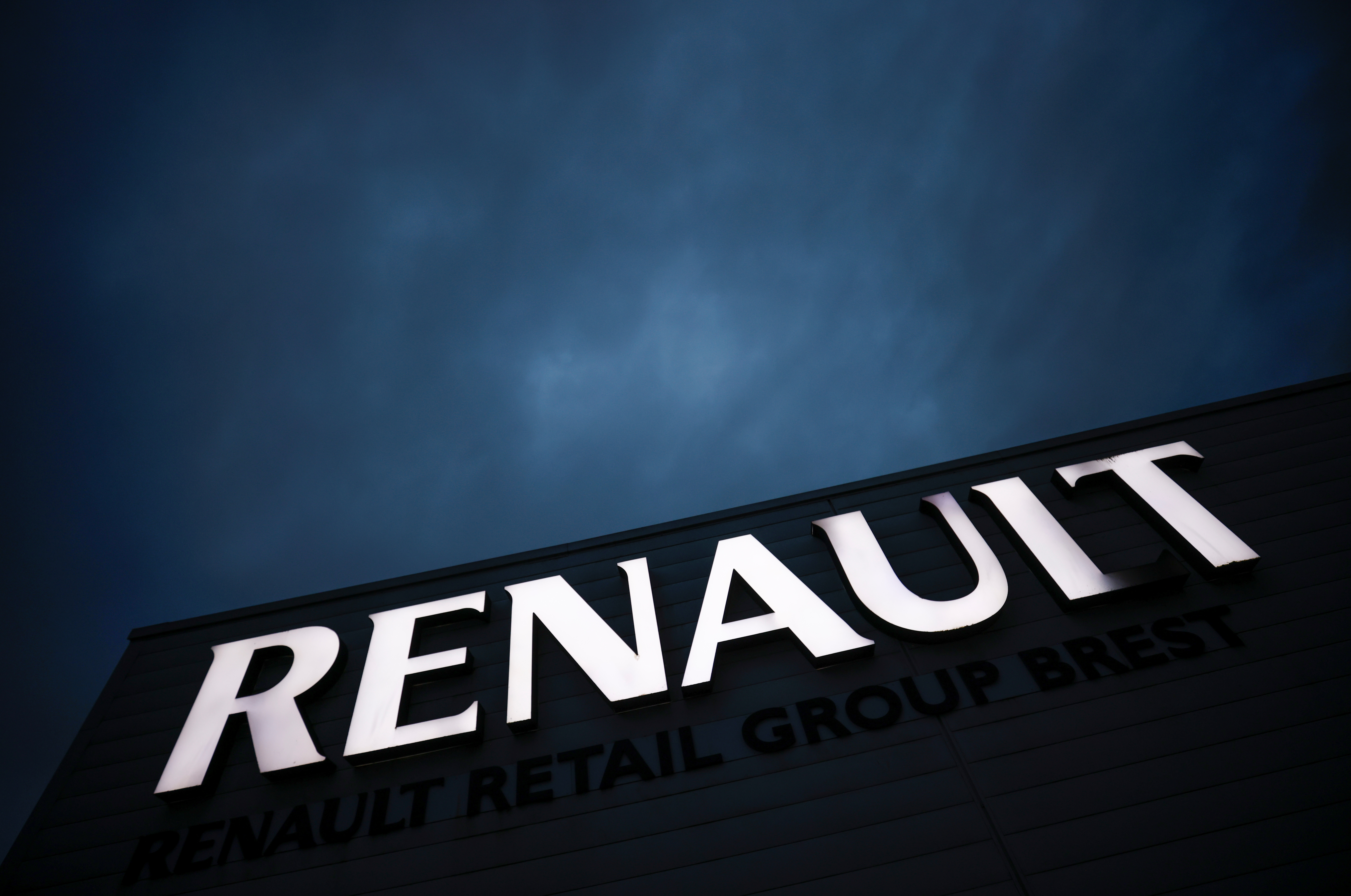 A logo of Renault carmaker is pictured at a dealership in Brest, France, February 19, 2021. REUTERS/Stephane Mahe