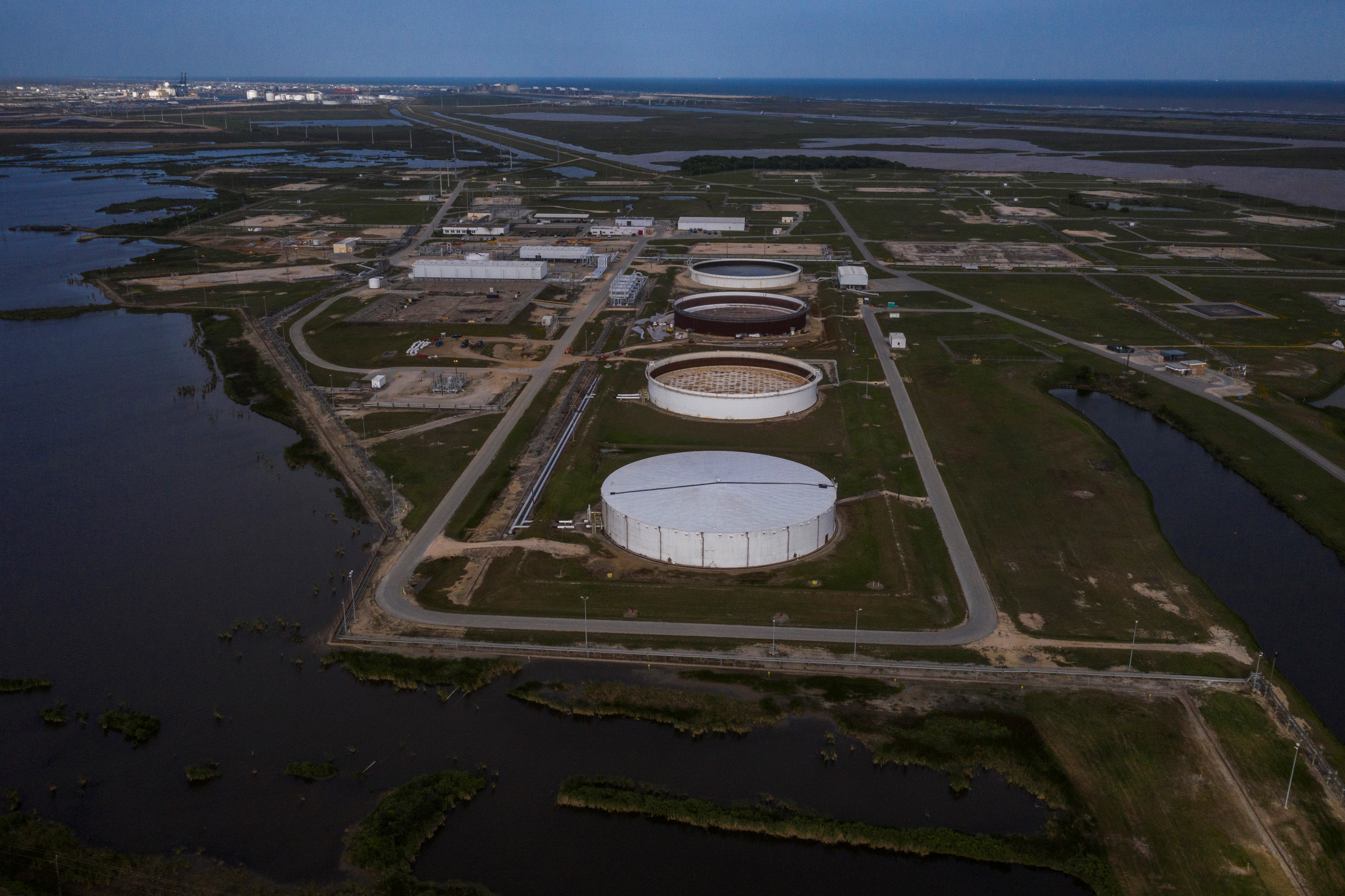 The Bryan Mound Strategic Petroleum Reserve, an oil storage facility, is seen in this aerial photograph over Freeport, Texas, U.S., April 27, 2020.  REUTERS/Adrees Latif