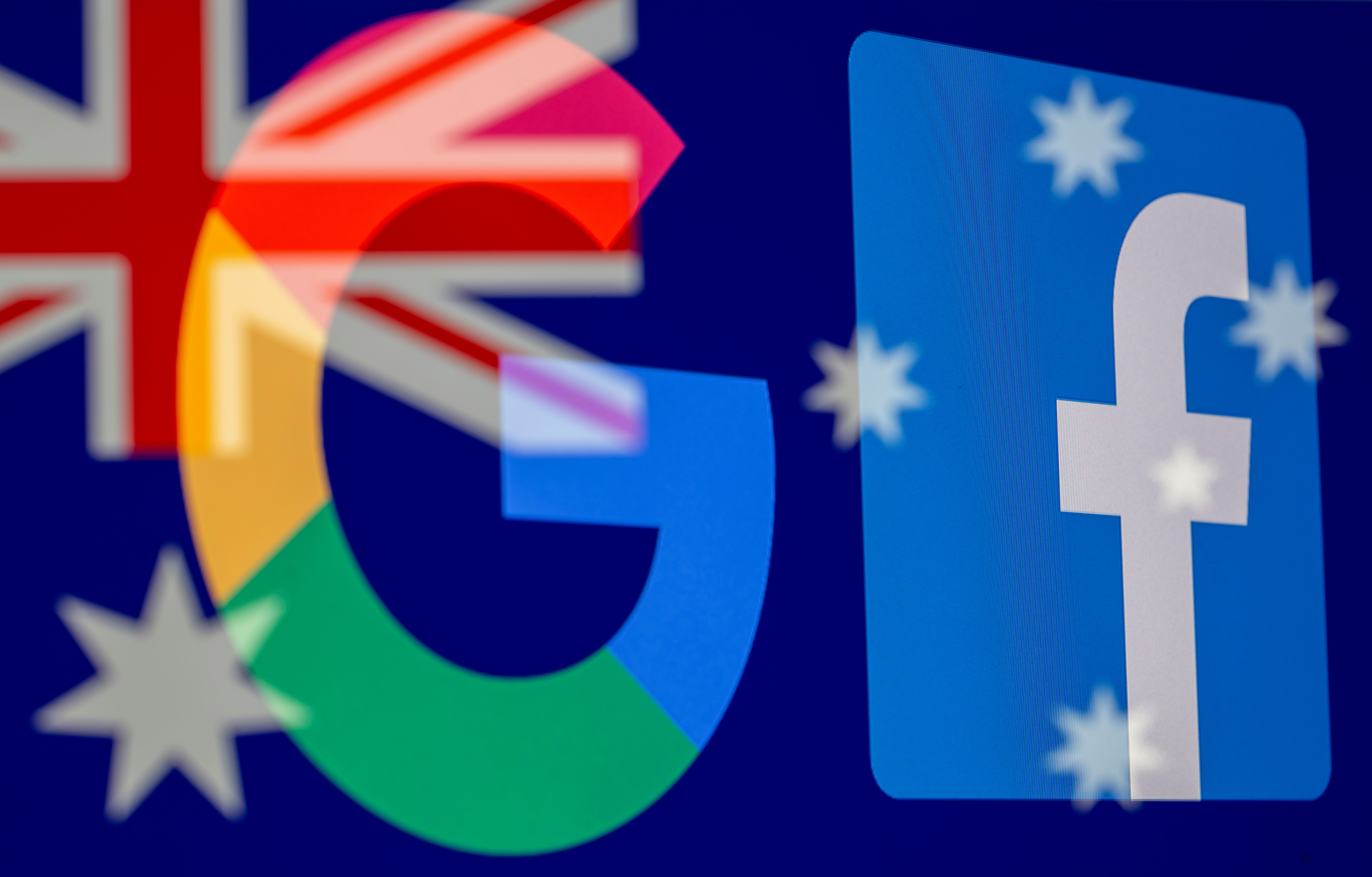 Google and Facebook logos and Australian flag are displayed in this illustration taken, February 18, 2021. REUTERS/Dado Ruvic/Illustration