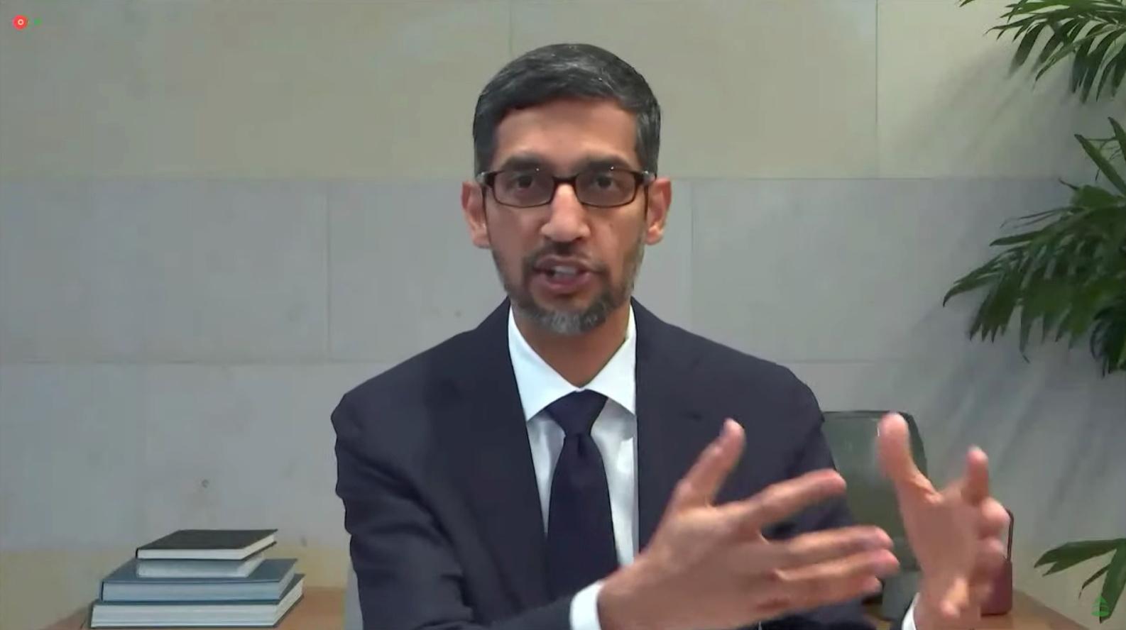 Google CEO Sundar Pichai.  U.S. House of Representatives Energy and Commerce Committee/Handout via Reuters