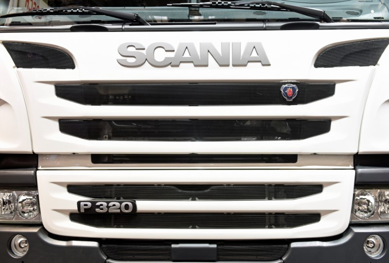 The logo of Swedish truck maker Scania is pictured at the IAA truck show in Hanover, September 22,  2016.  REUTERS/Fabian Bimmer