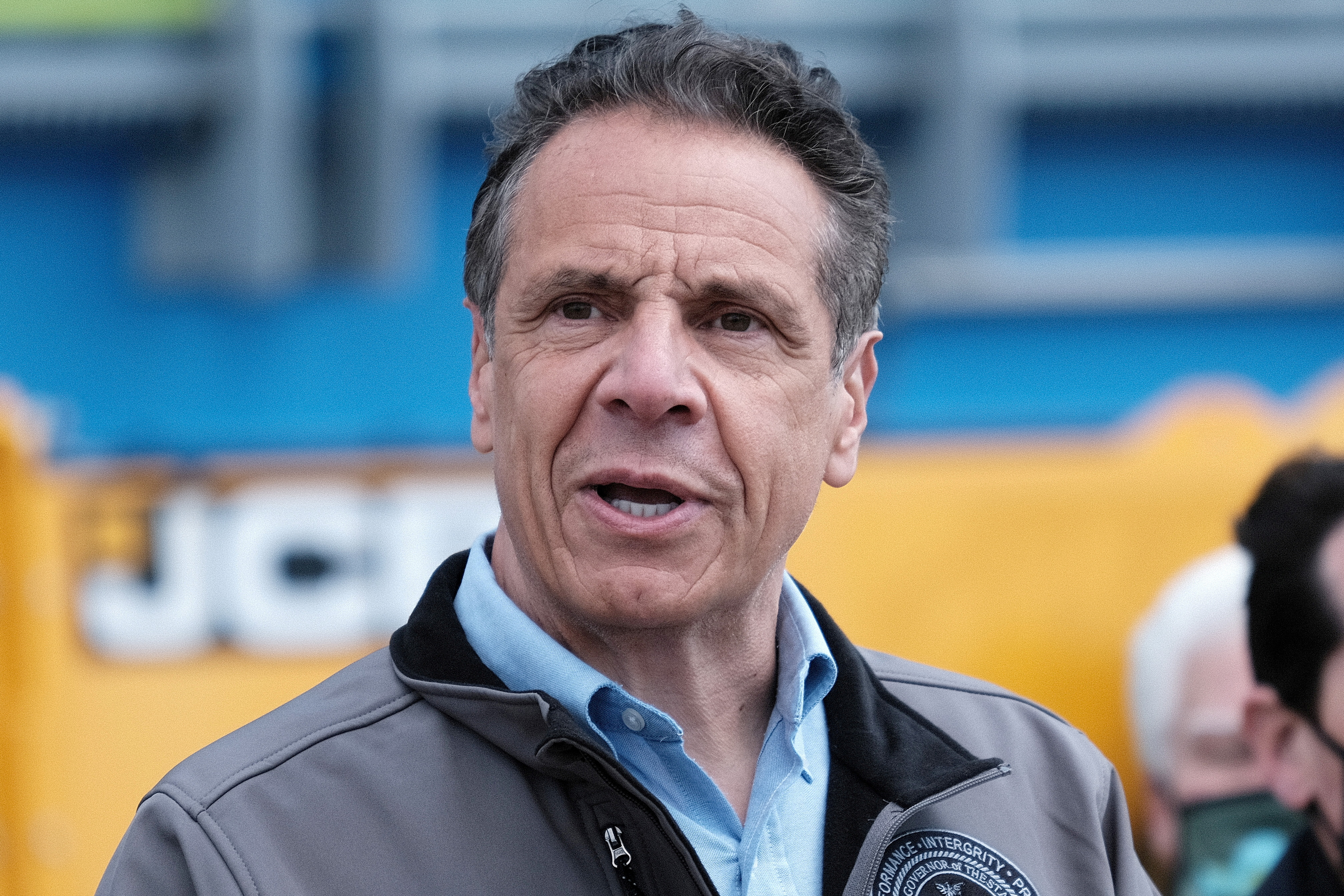 New York Governor Andrew Cuomo speaks during a ground breaking ceremony at the Bay Park Water Reclamation Facility in East Rockaway, New York, U.S., April 22, 2021. Spencer Platt/Pool via REUTERS