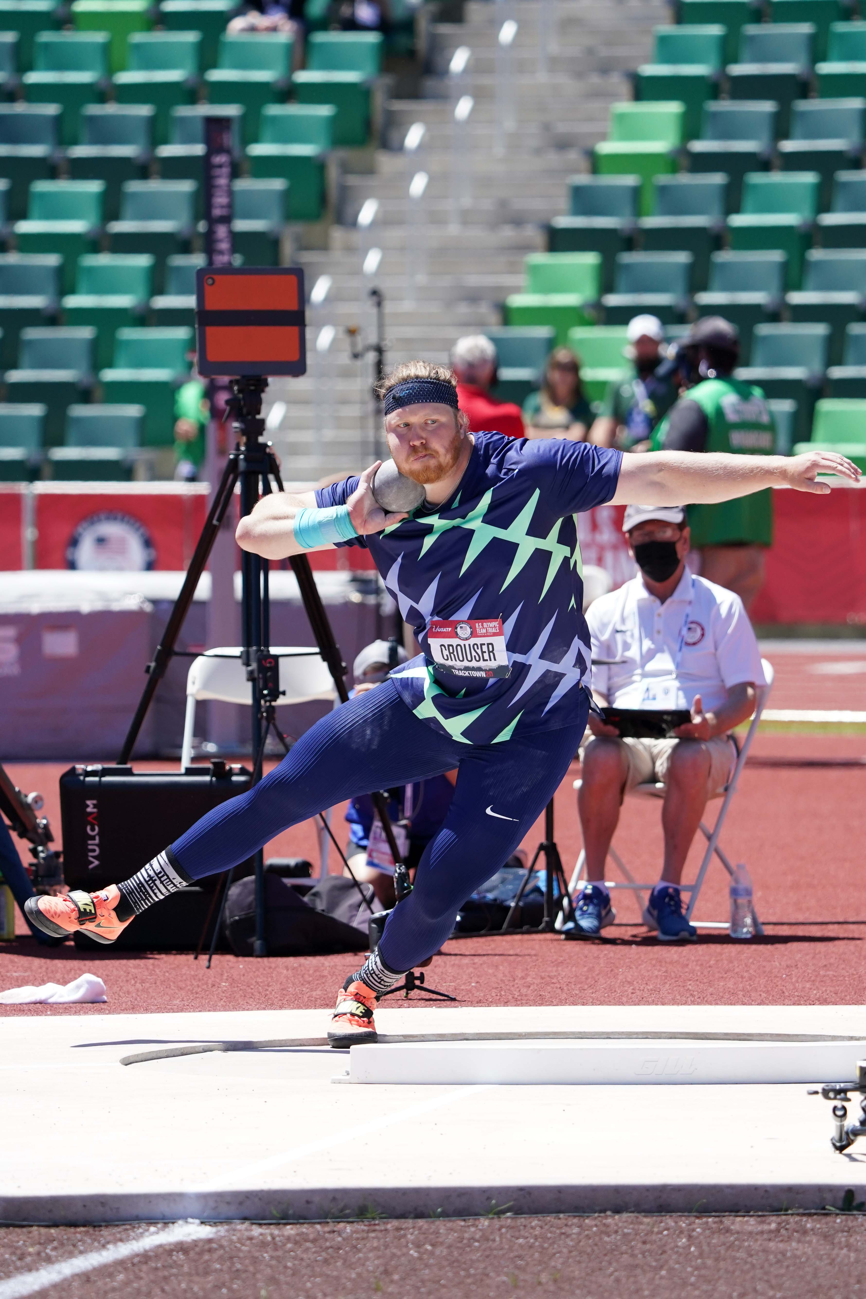Jun 18, 2021; Eugene, OR, USA; Ryan Crouser throws a meet-record 75-2 (22.92M) for the top mark in the shot put qualifying  during the US Olympic Team Trials at Hayward Field. Mandatory Credit: Kirby Lee-USA TODAY Sports