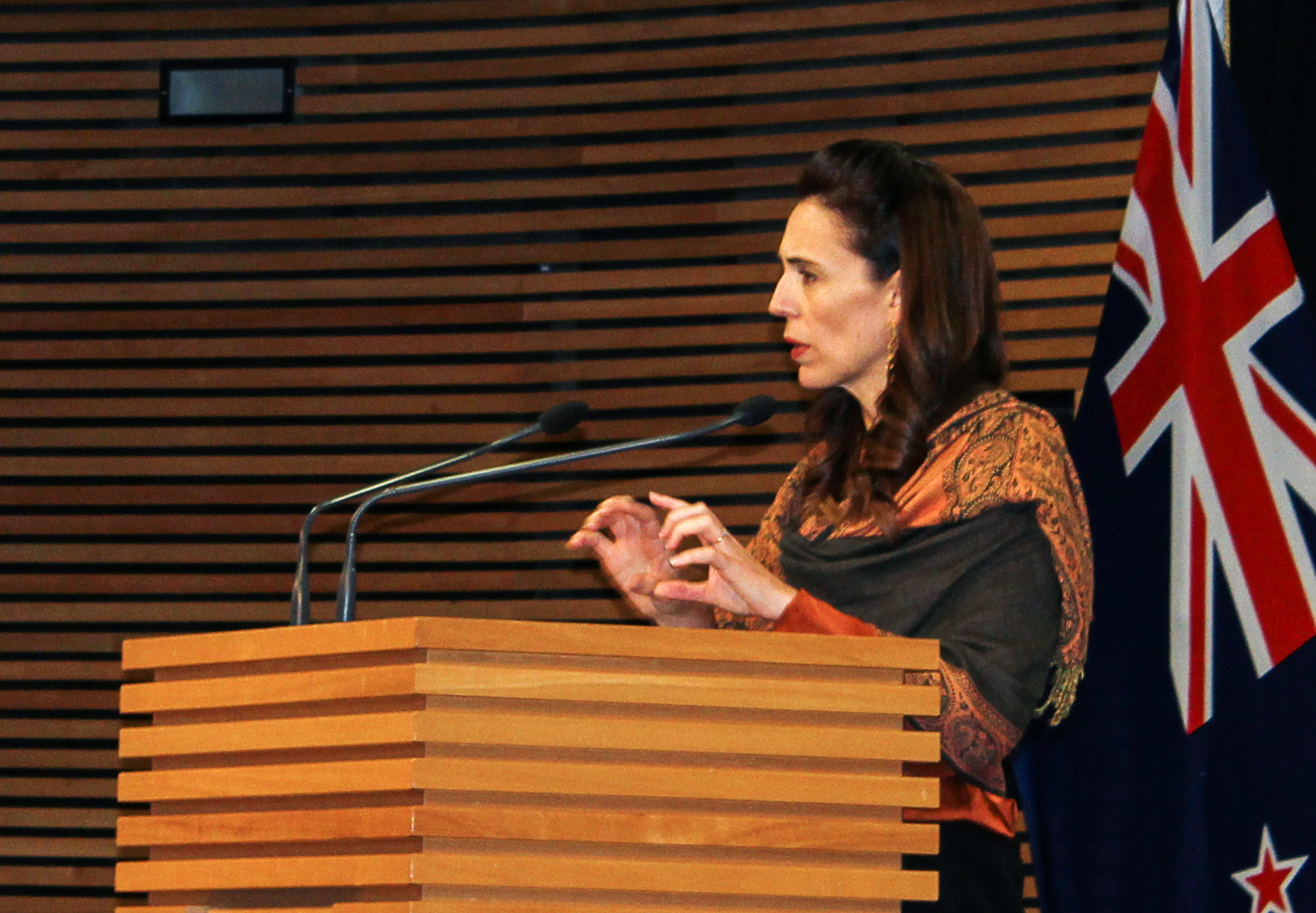 New Zealand's Prime Minister Jacinda Ardern speaks at a news conference on the coronavirus disease (COVID-19) pandemic in Wellington, New Zealand, February 17, 2021. REUTERS/Praveen Menon