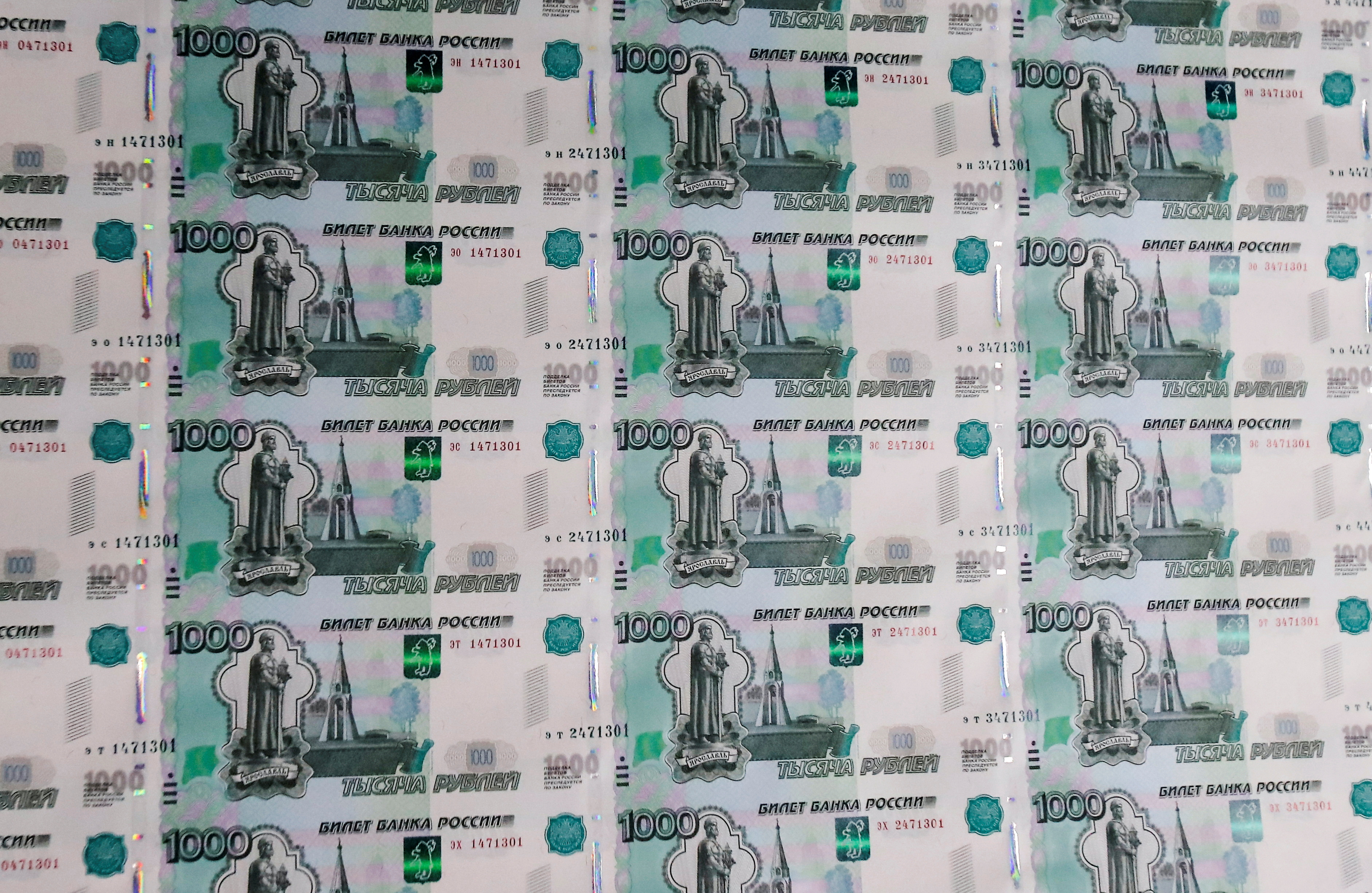A sheet of 1000 Russian Rouble notes at Goznak printing factory in Moscow, Russia July 11, 2019. REUTERS/Maxim Shemetov/File Photo